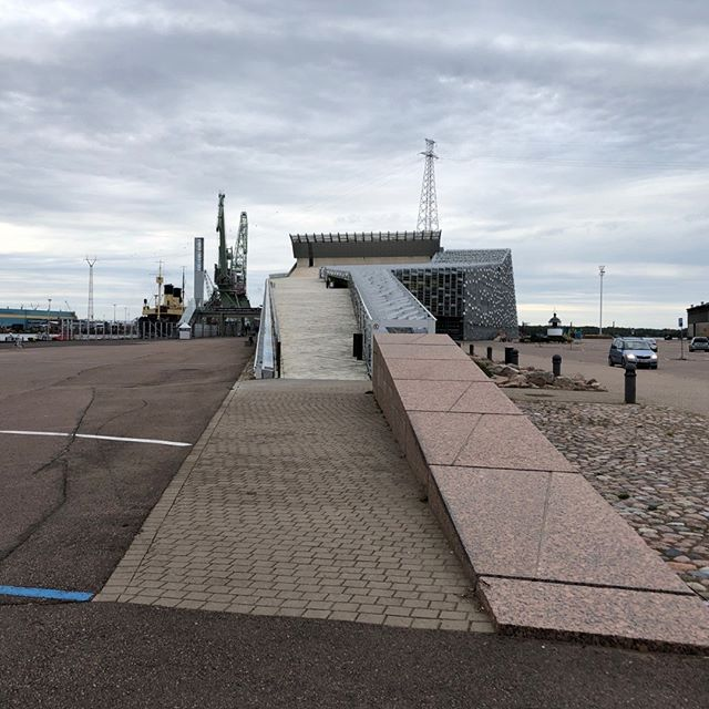 This path is a way on to the roof or entrance to the new Maritime Center called Vellamo, in Kotka, near the Russian border of FInland. It looks like you are about to board a ship!