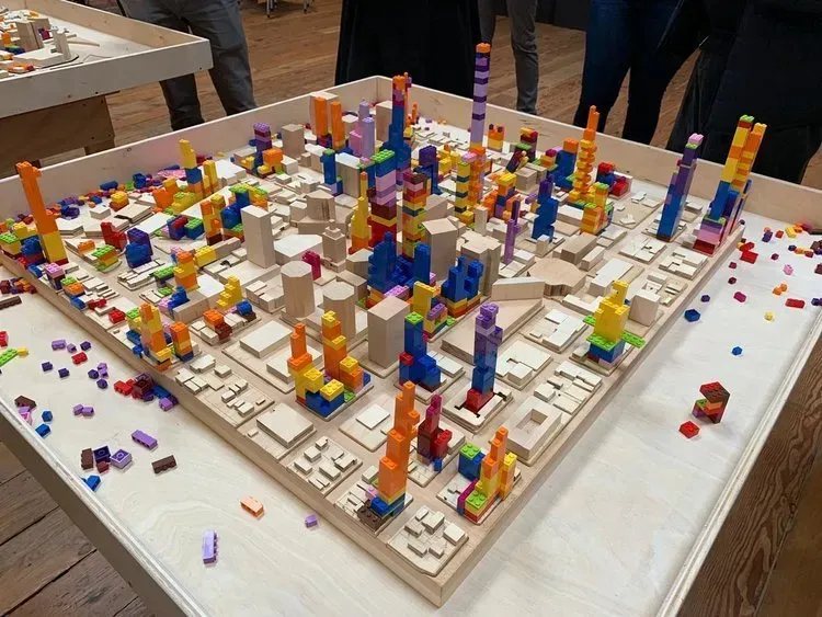 Oakland 2100 was created and built by the Oakland 2100 team: Noah Friendman, Courtney Ferris, Steve Pepples and Master of Urban Design Graduate Students during the Spring 2019 semester studio. The exhibit allows people of all ages to envision their future of Oakland in the year 2100 by placing blocks that represent different land uses on the existing base of buildings that exist today. The bricks represent the amount of new capacity that is needed in 2100. The challenge is where to put all of the bricks on the base.