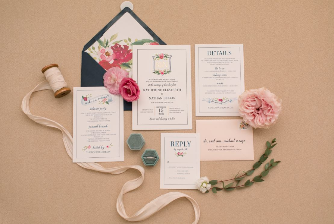 Real Wedding // Kate + Nate: A philadelphia wedding featuring a bright pink + Navy color palette -- Photographer: Samantha Jay Photography // Calligraphy: Caitlin Jane Calligraphy // Florist: Fresh Designs Florist // Stationery: Chick Invitations // Wedding Planning & Design: Shannon Wellington