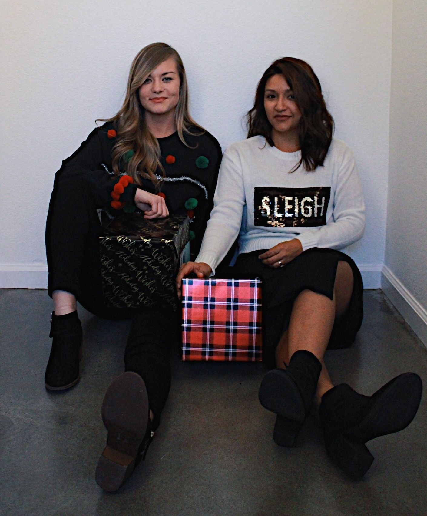 Ugly Christmas sweaters/ Pom Poms and Sleigh All Day with gift boxes