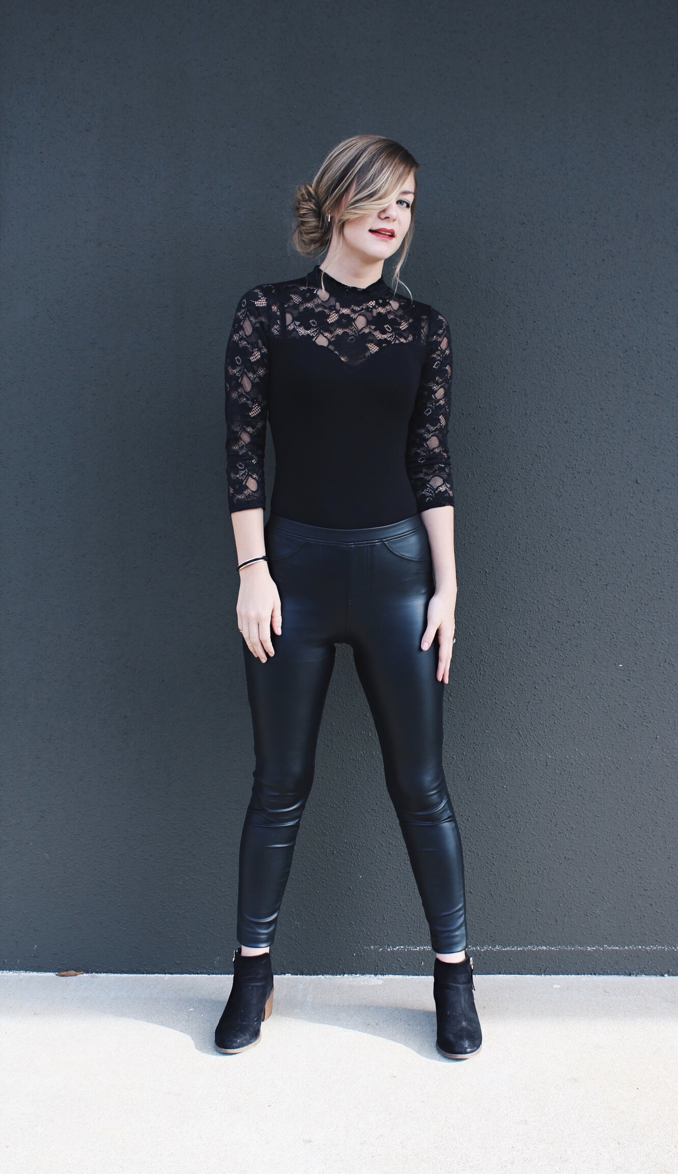 Side Up Do Bun & Black Lace Bodysuit