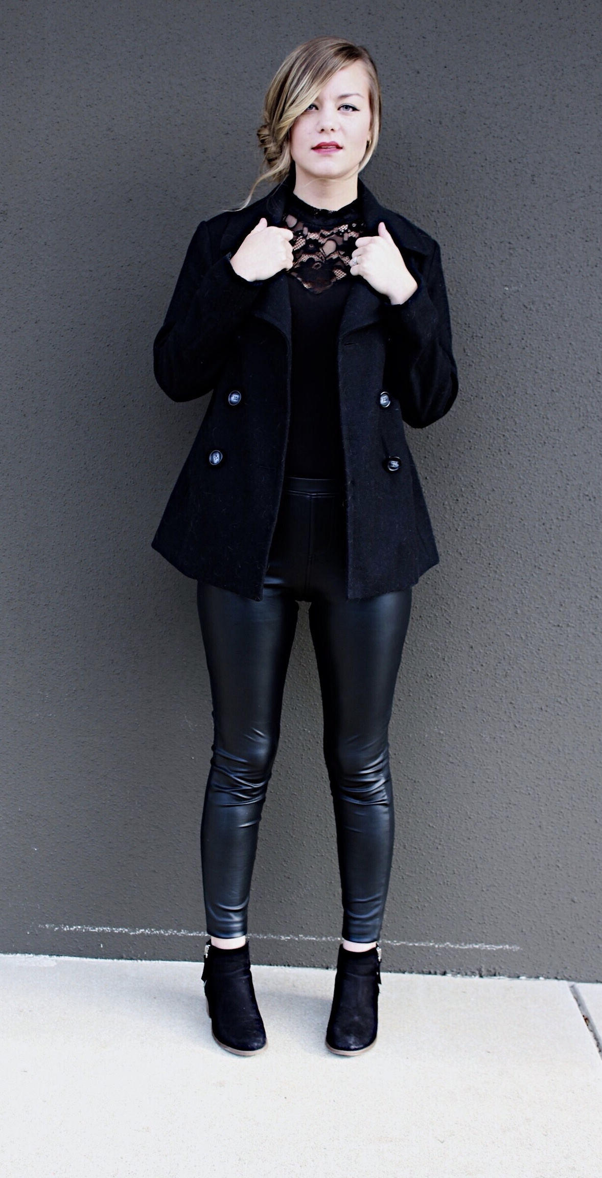 Lace Body Suit & Pleather Pants