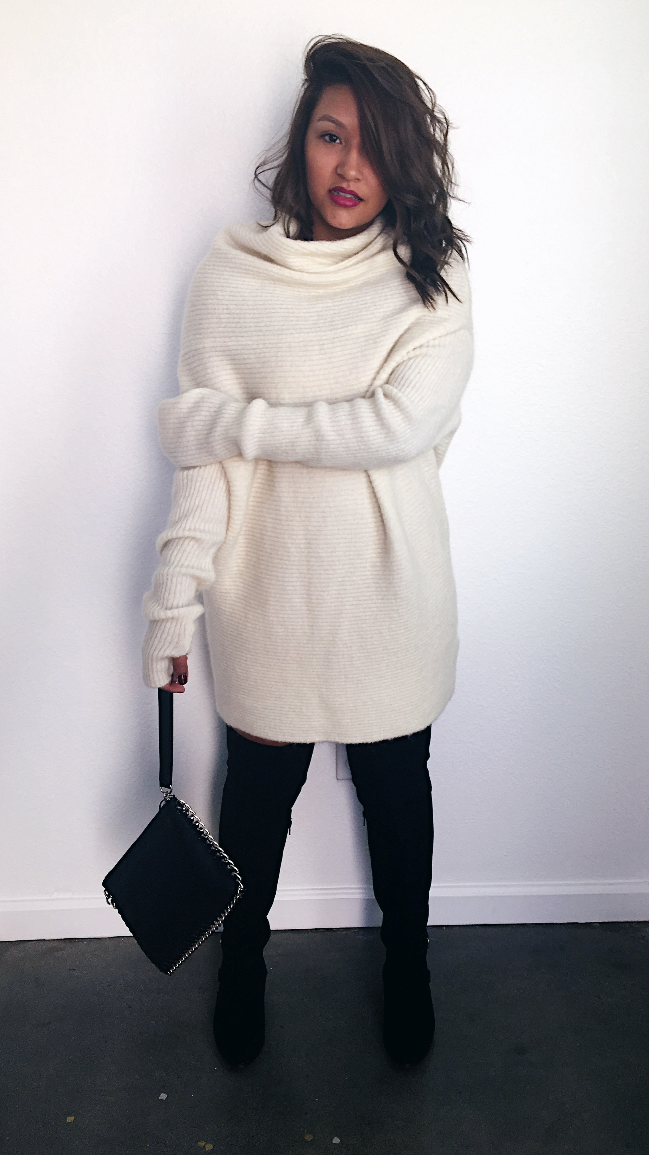 Off White Sweater Dress & Black Knee High Boots
