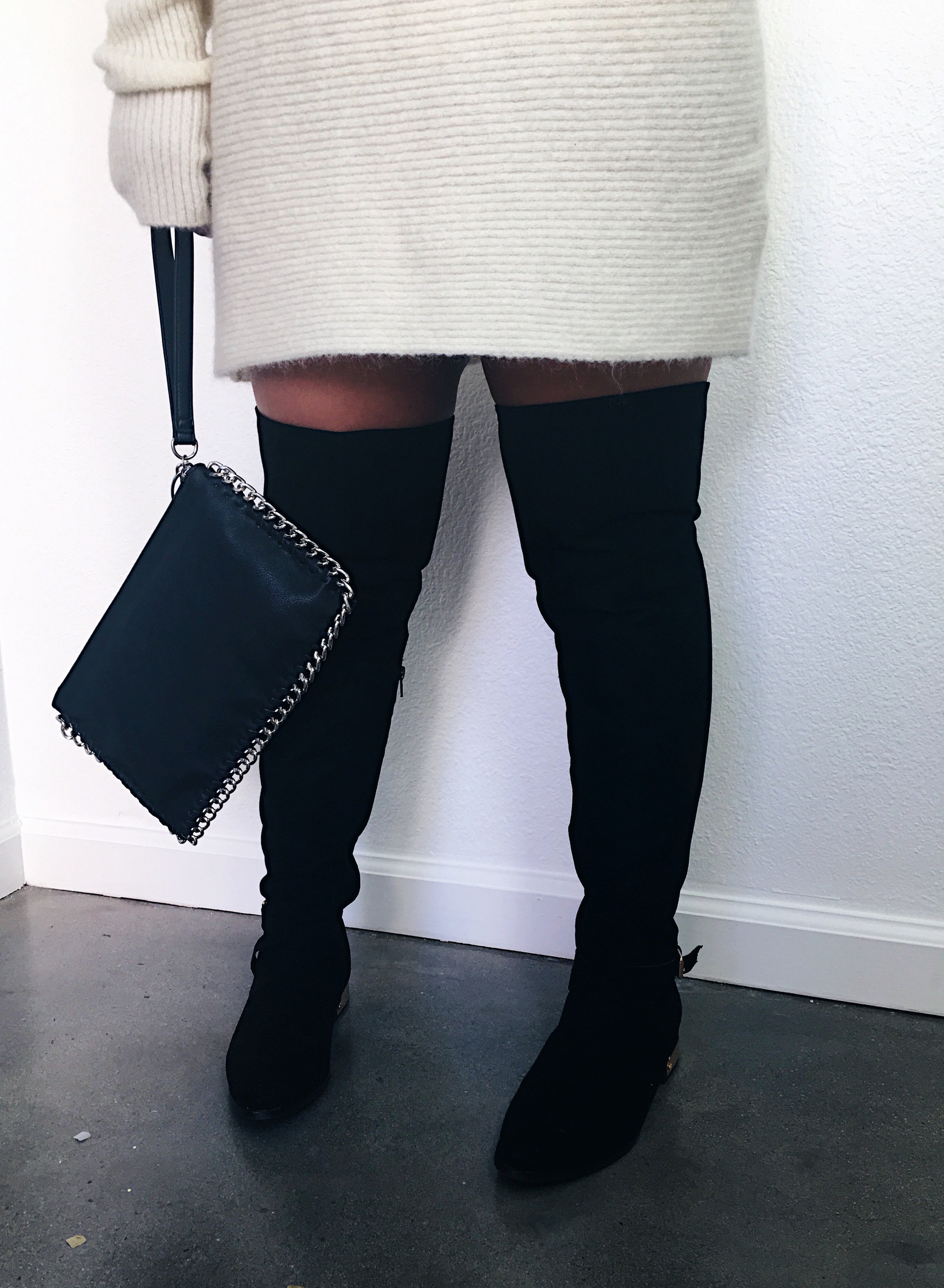Black Wristlet with Chain Details & Suede Knee High Boots