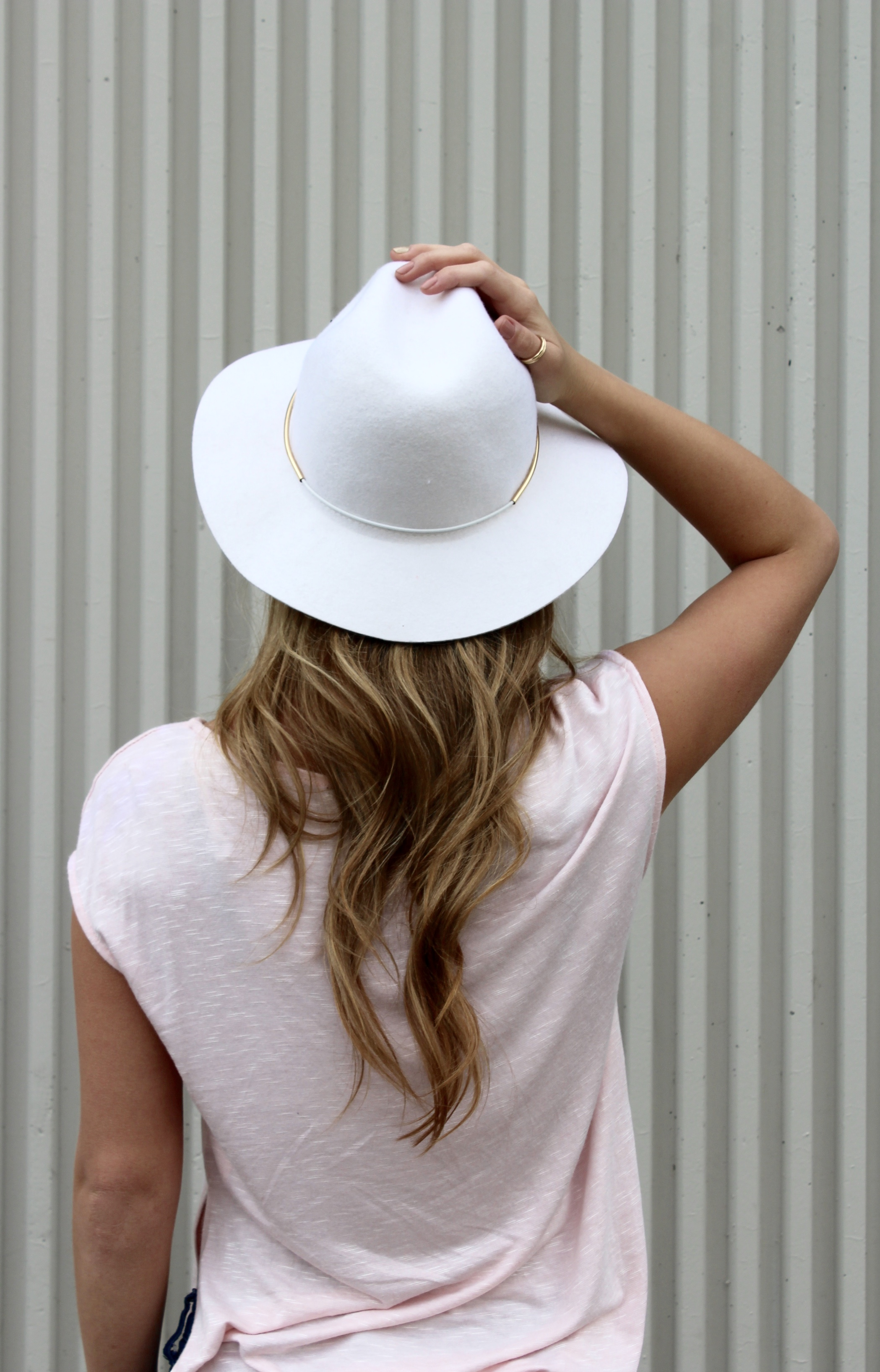 White Wool Fedora with Gold Details