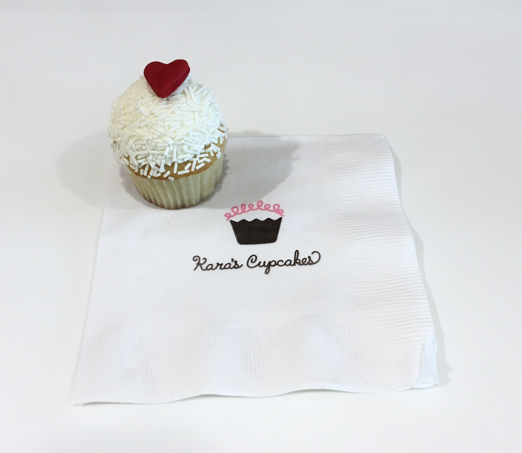 Vanilla Sprinkle Cupcake with Heart Shaped Fondant from Kara's Cupcakes in San Francisco