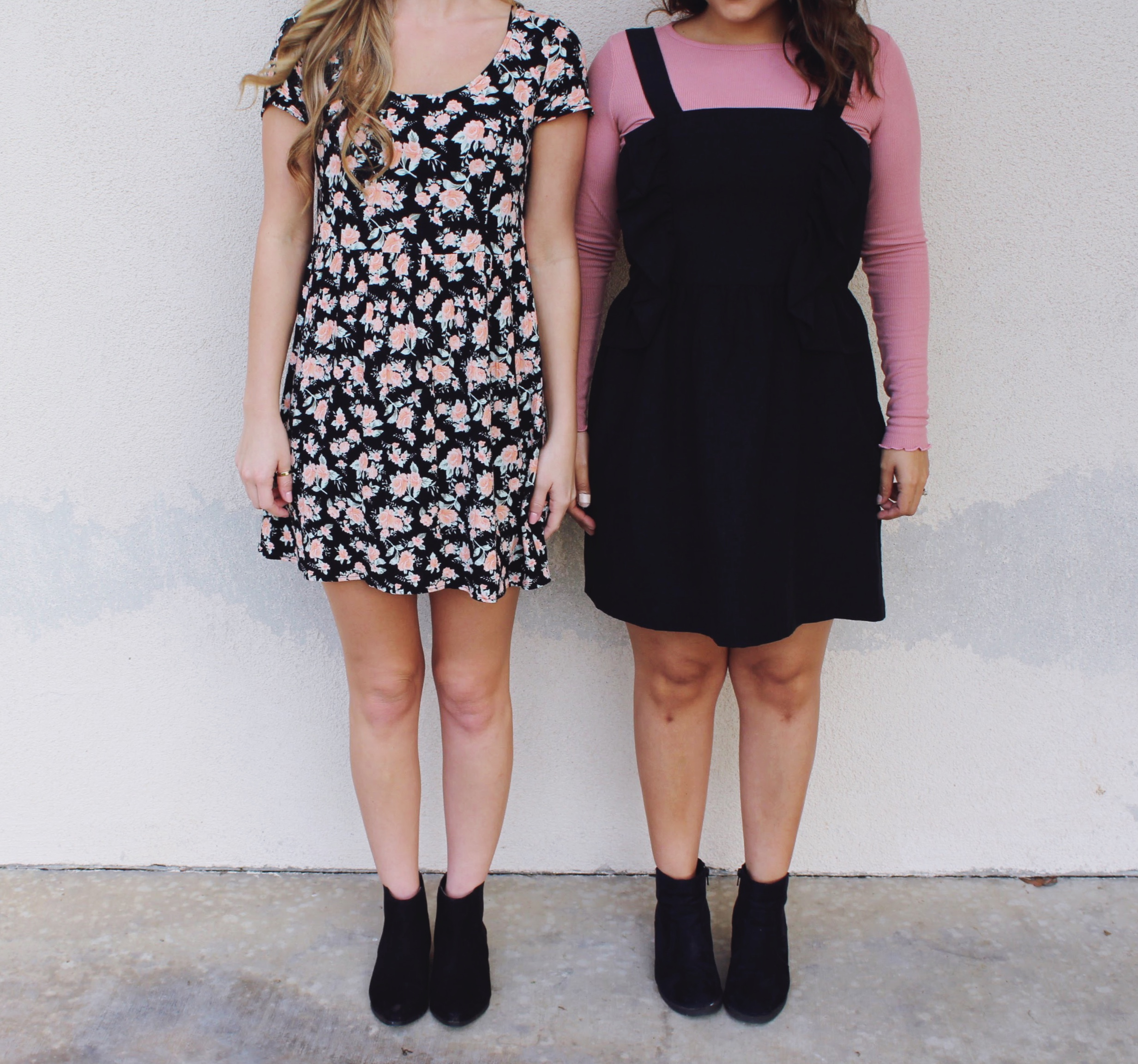Floral 90's style dress and black jumper with frill details