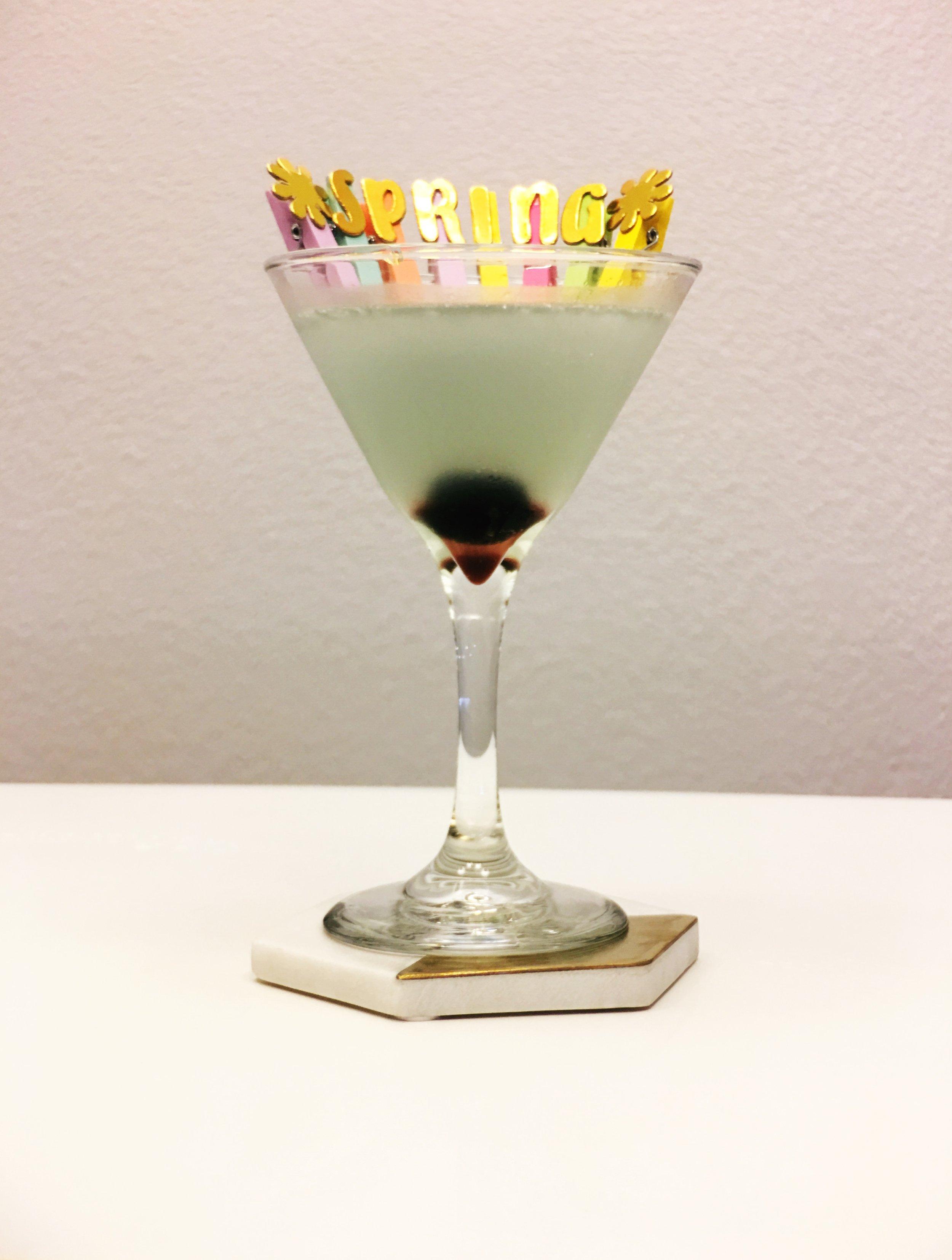 Blue Cocktail with a Luxardo Maraschino Cherry