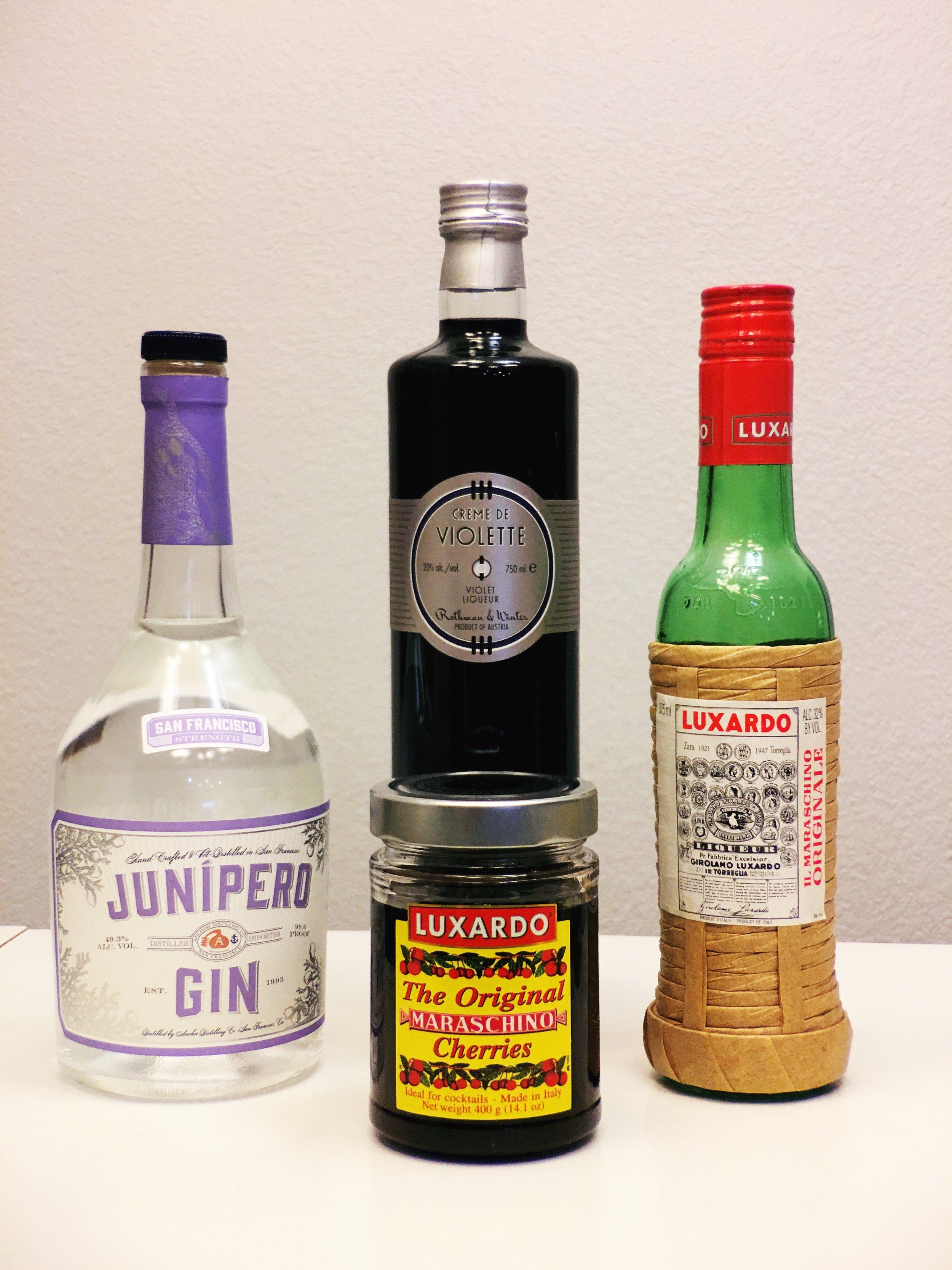 Gin, Luxardo Cherries and Creme De Violet