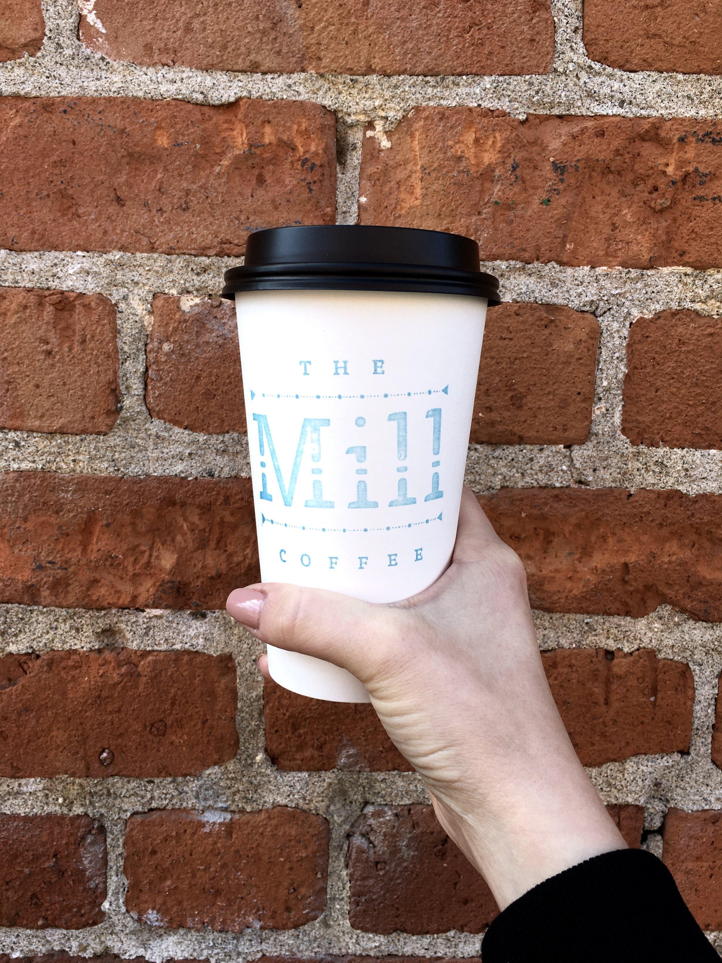 The Mill Latte in Sacramento, California. Brick Wall