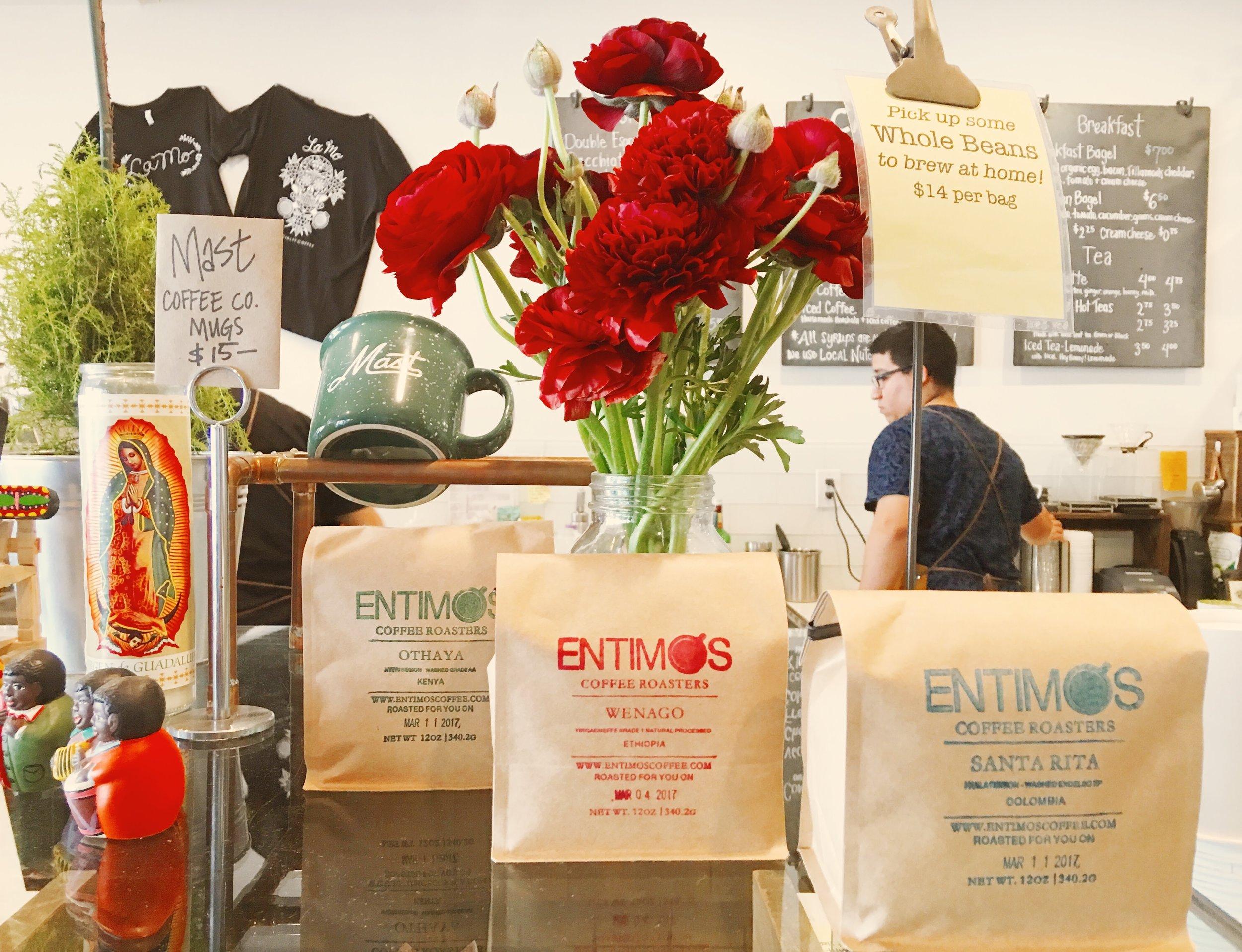 Entimos Coffee Display at La Mo Cafe in Turlock, CA