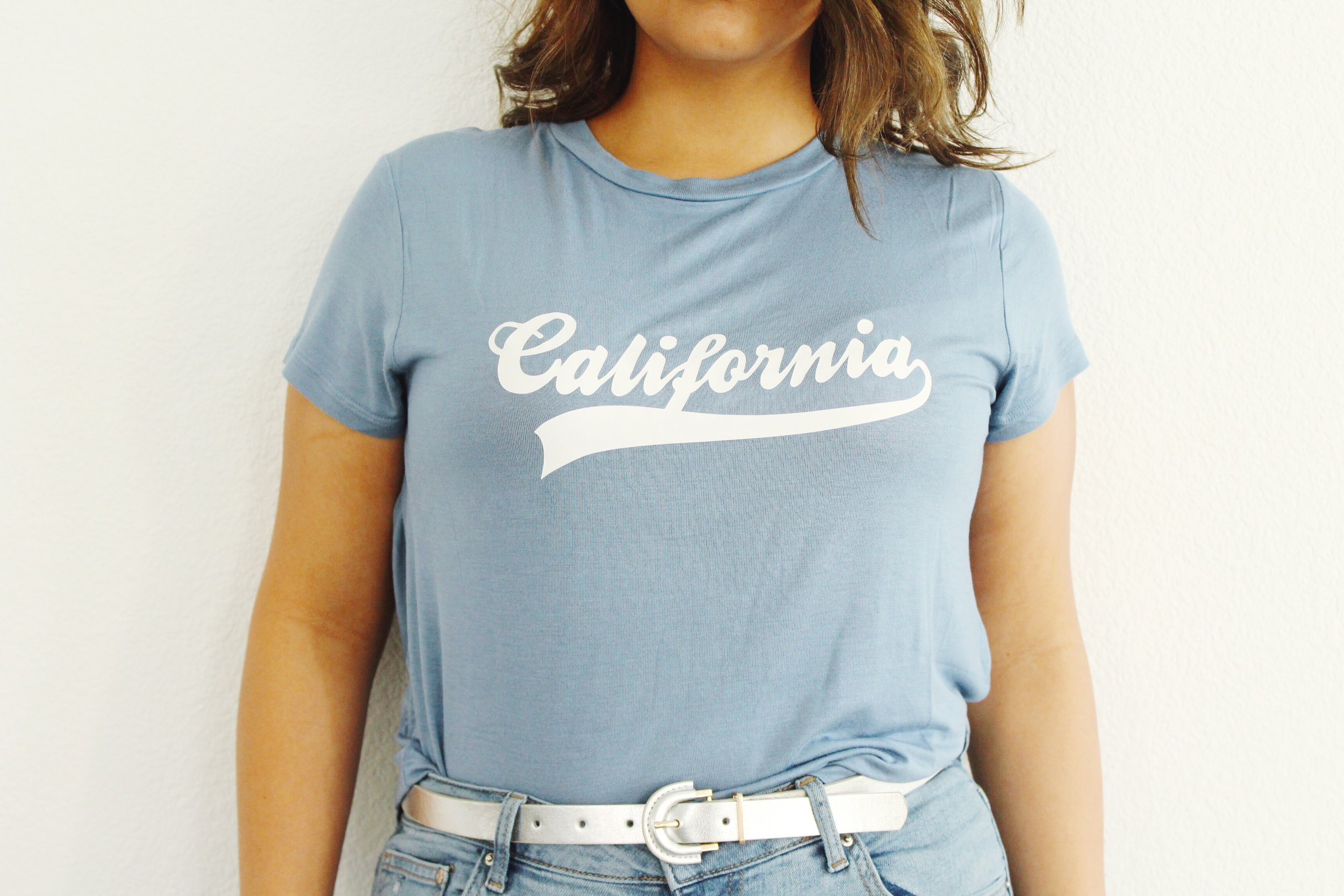 Sky Blue California Crop Top And Silver Metallic Belt