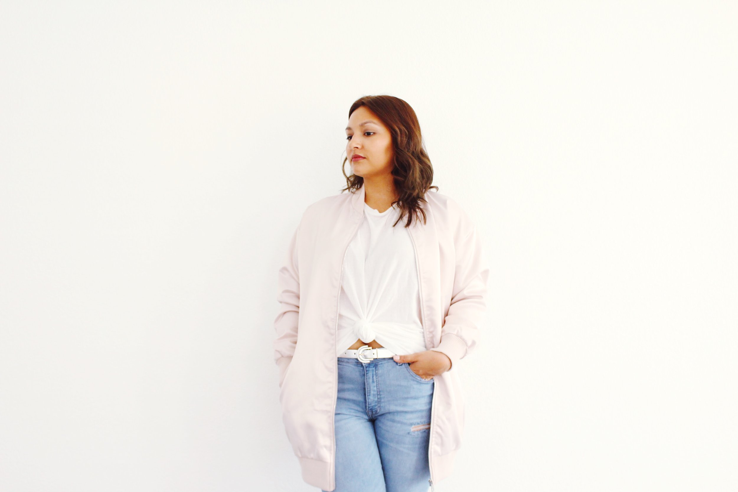 Long Satin Blush Pink Bomber
