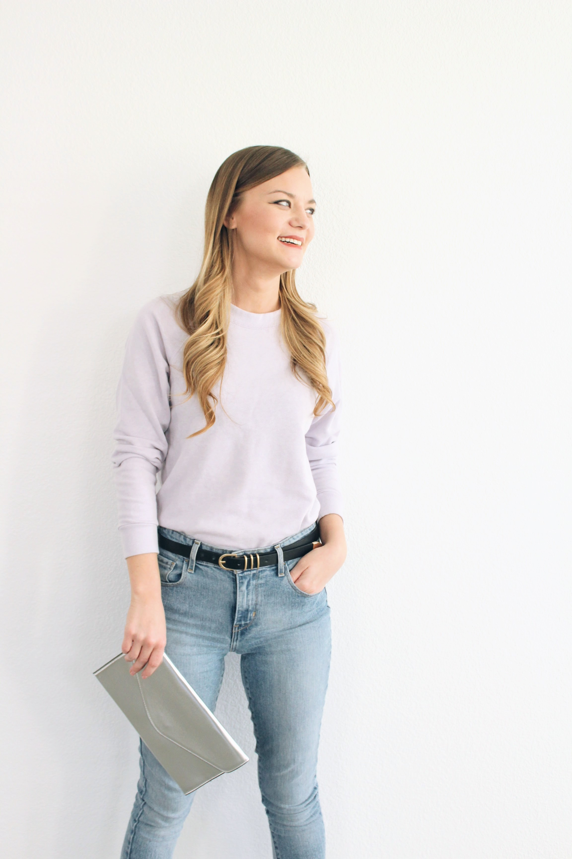 Lilac Basic Pull Over Sweater and Silver
