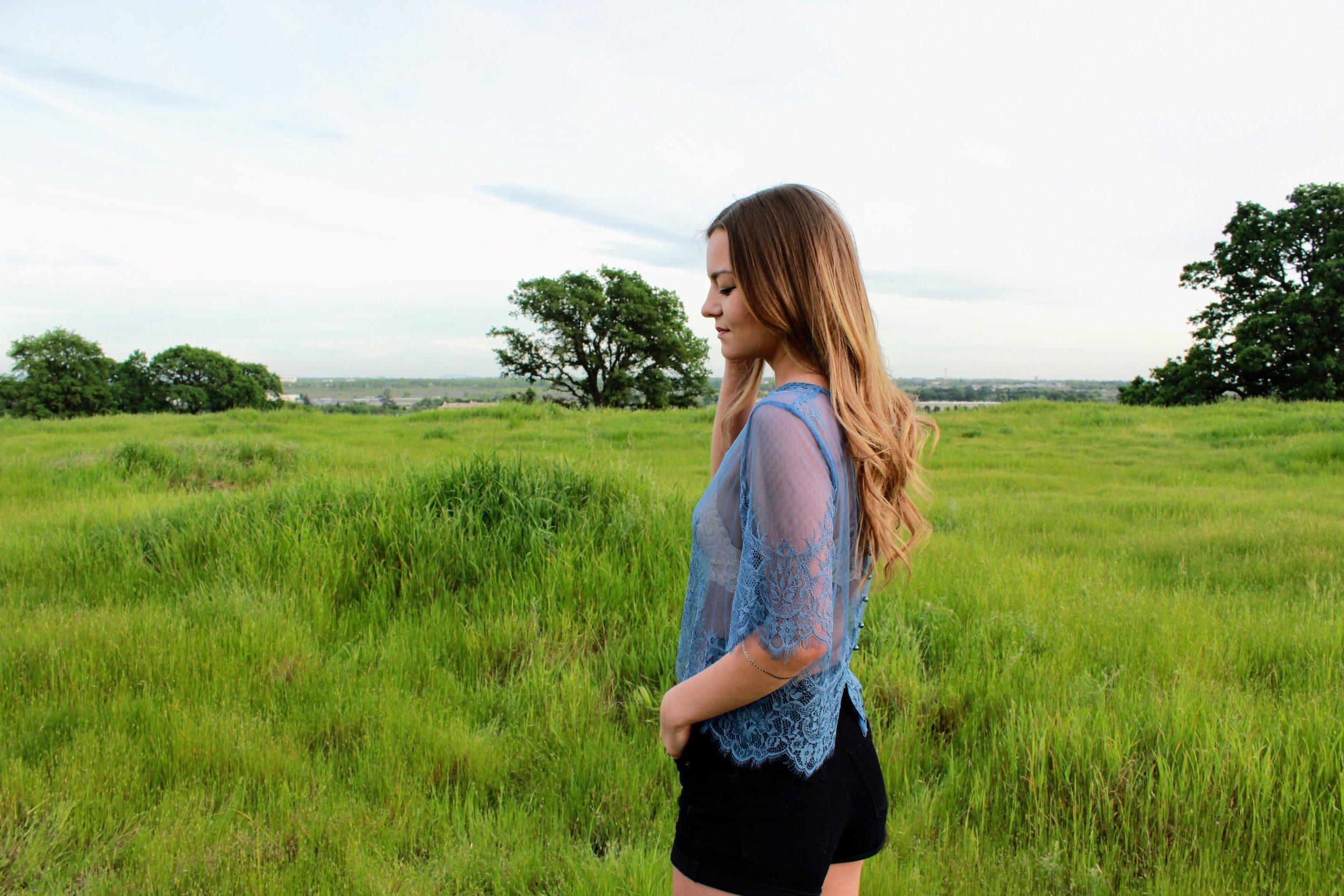 Lace Blue Top from H&M x Coachella collaboration. Festive Fashion