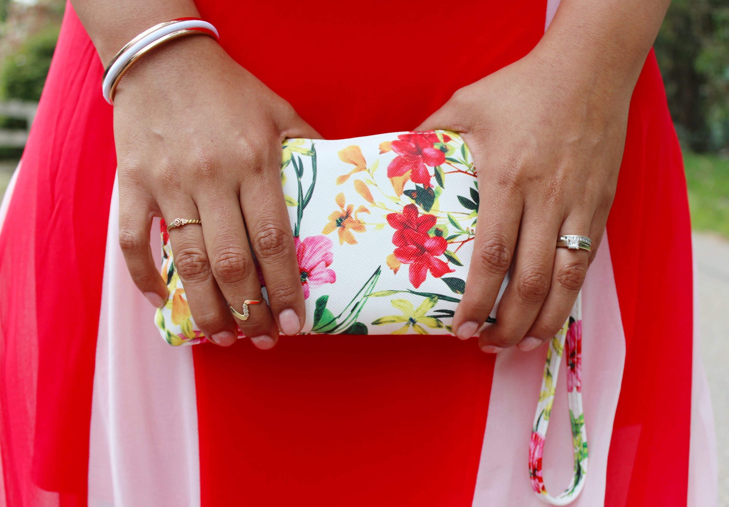 Floral Wristlet Clutch with Gold Accessories