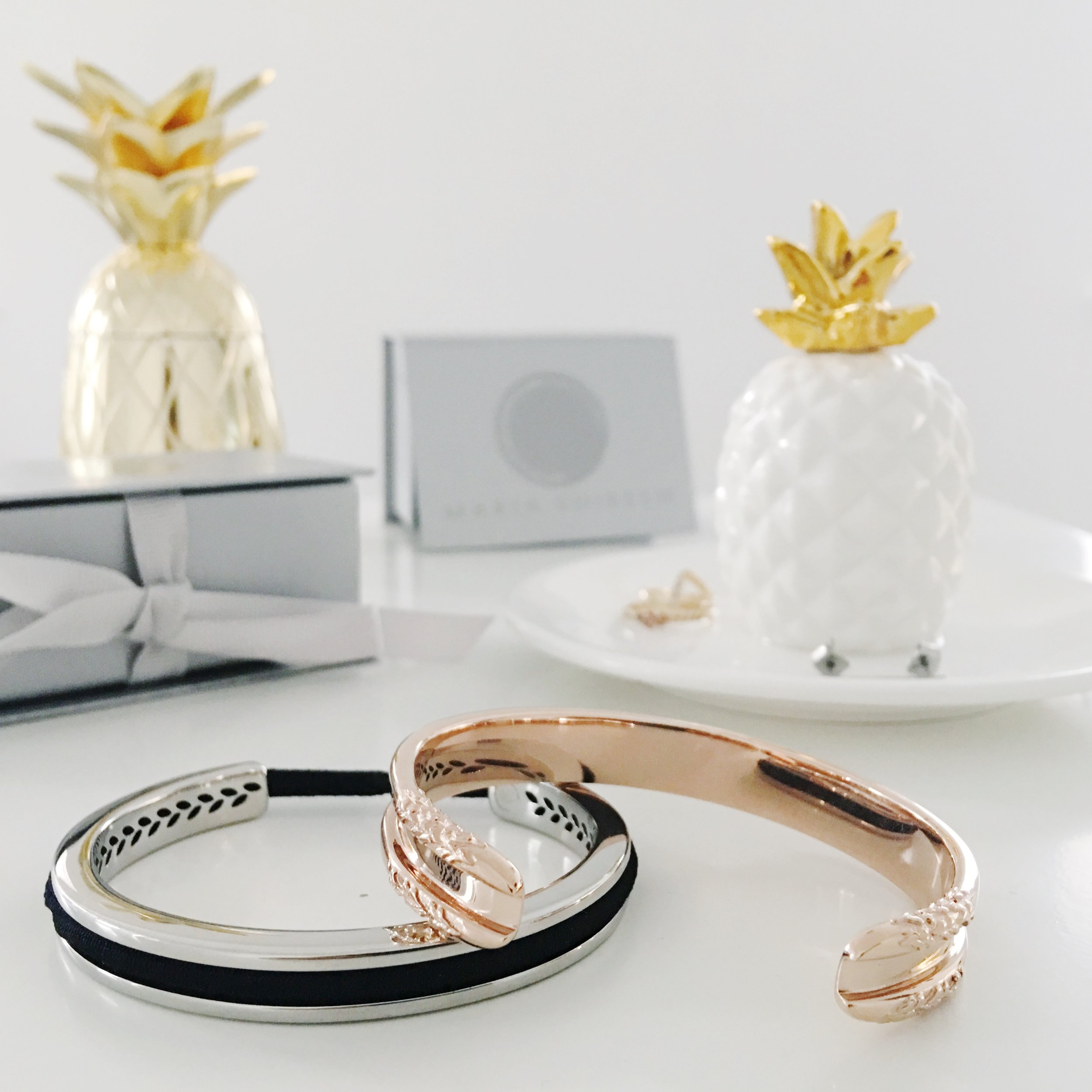 Maria Shireen HairTie Bracelets in Silver Laurel and Rose Gold Floral. Pineapple Jewelry Dish