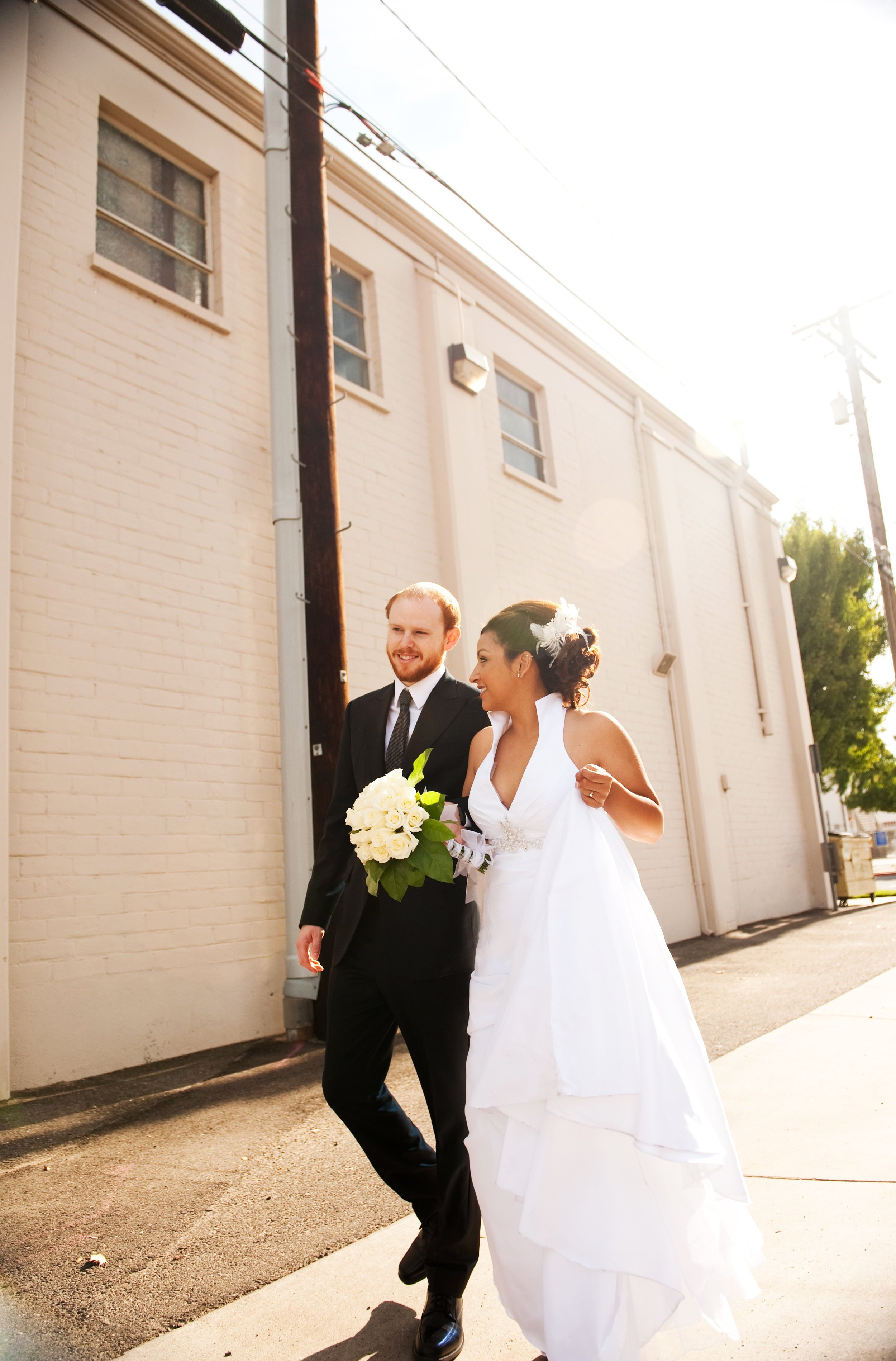 Modesto, California Wedding 2010. Crist- Garcia. Wedding dress with a collar.