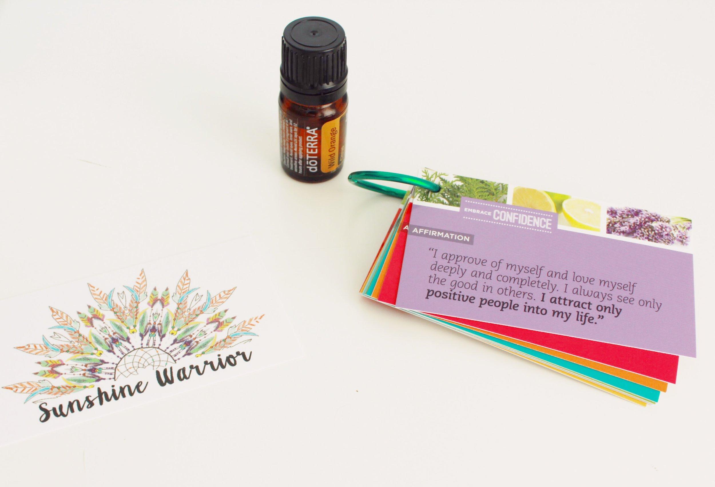Sunshine Warrior by Gina DeRoos. DoTerra Wild Orange Essential Oil and Daily Affirmation Cards.