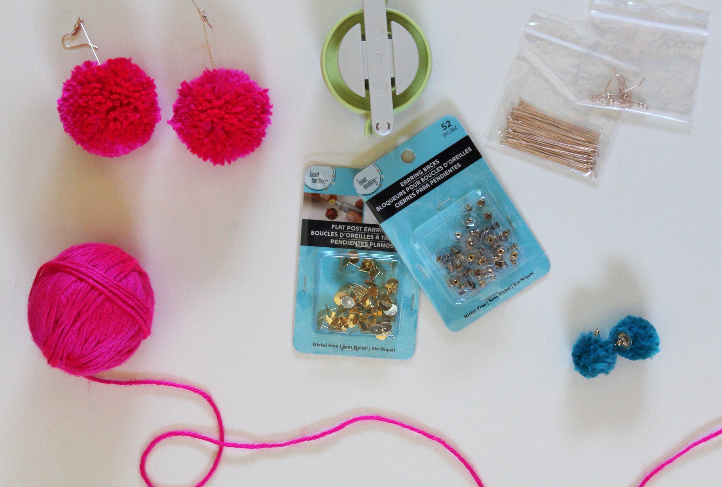 Materials to make pom pom earrings. Clover Pom Pom Maker from Michael's Store.