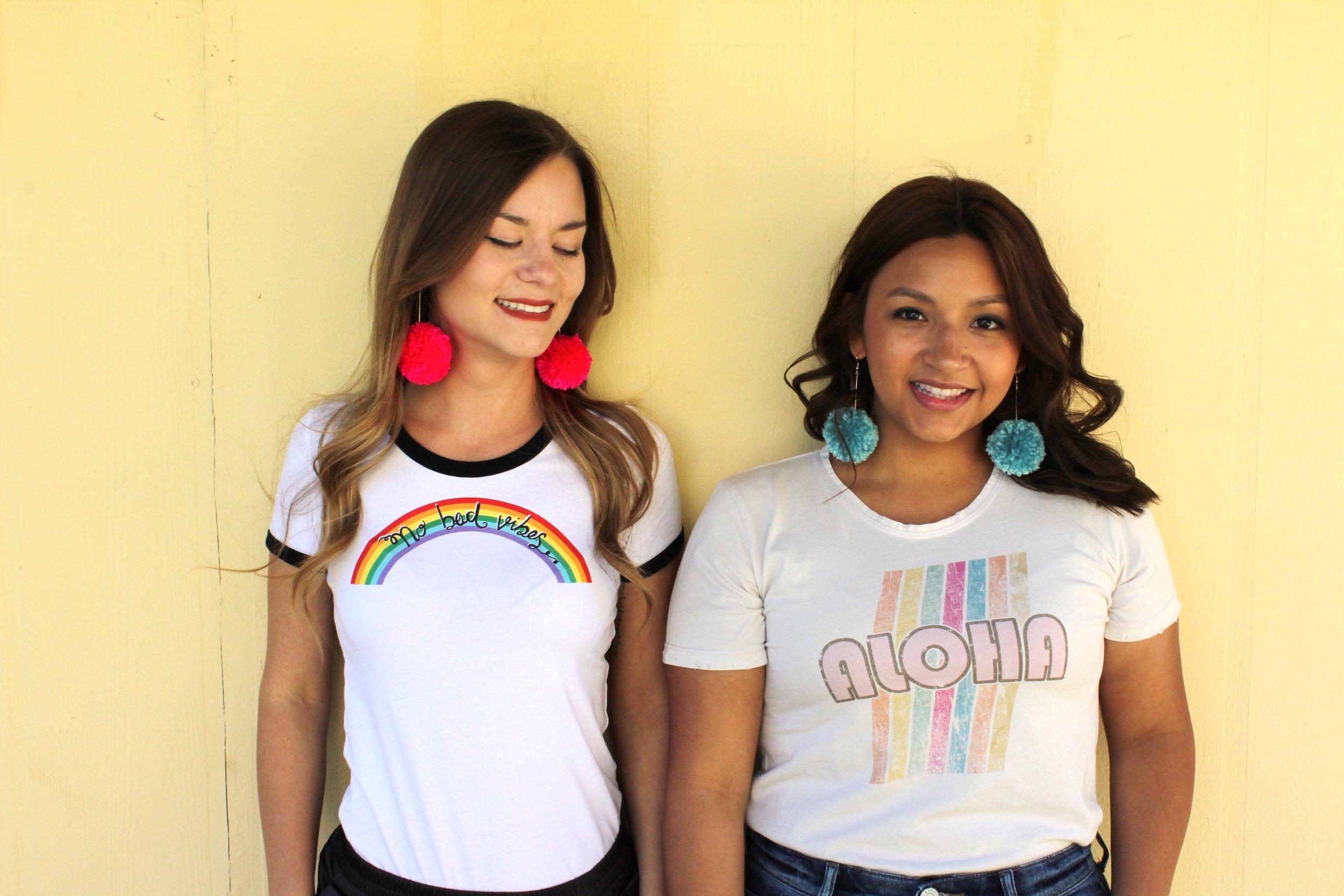 Rainbow Tees and 70's Style Hair and pom pom earrings.