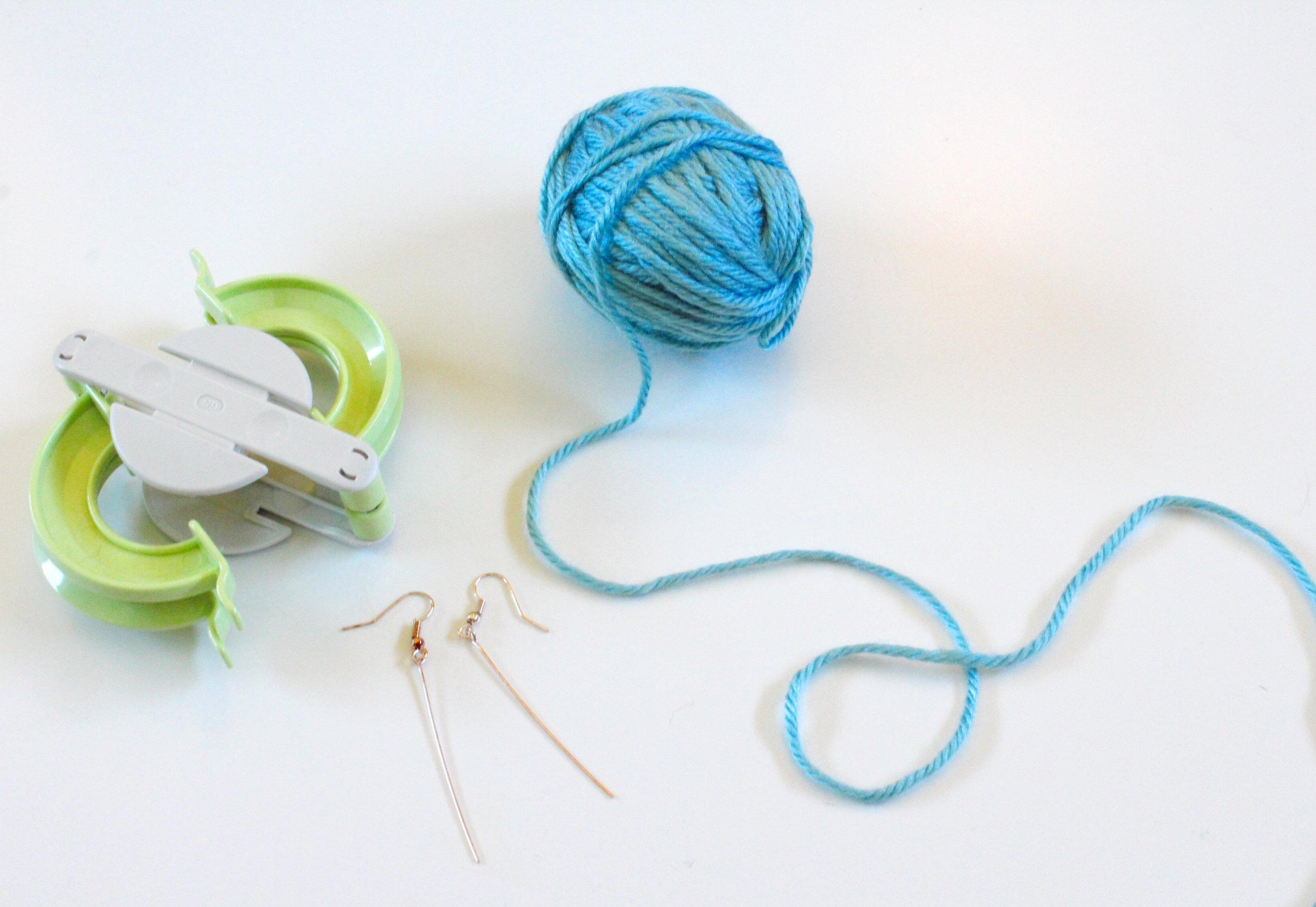 Clover Pom Pom Maker, Sky Blue Yarn and Earring Findings.