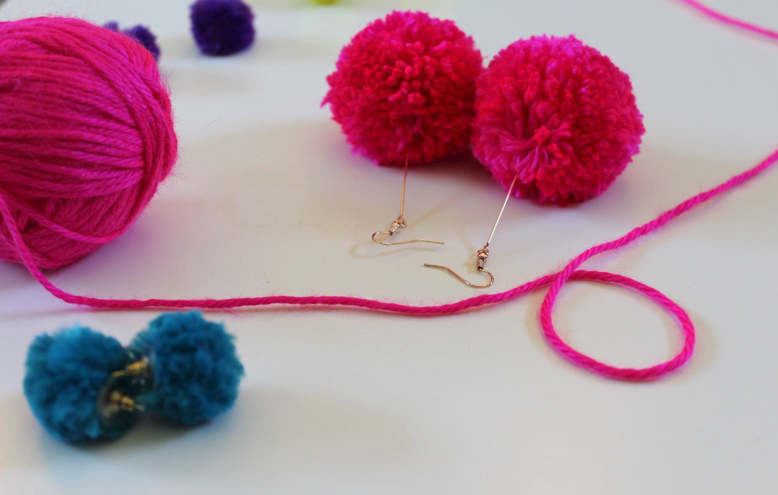 Hot Pink Yarn Ball and Pom Pom Earrings