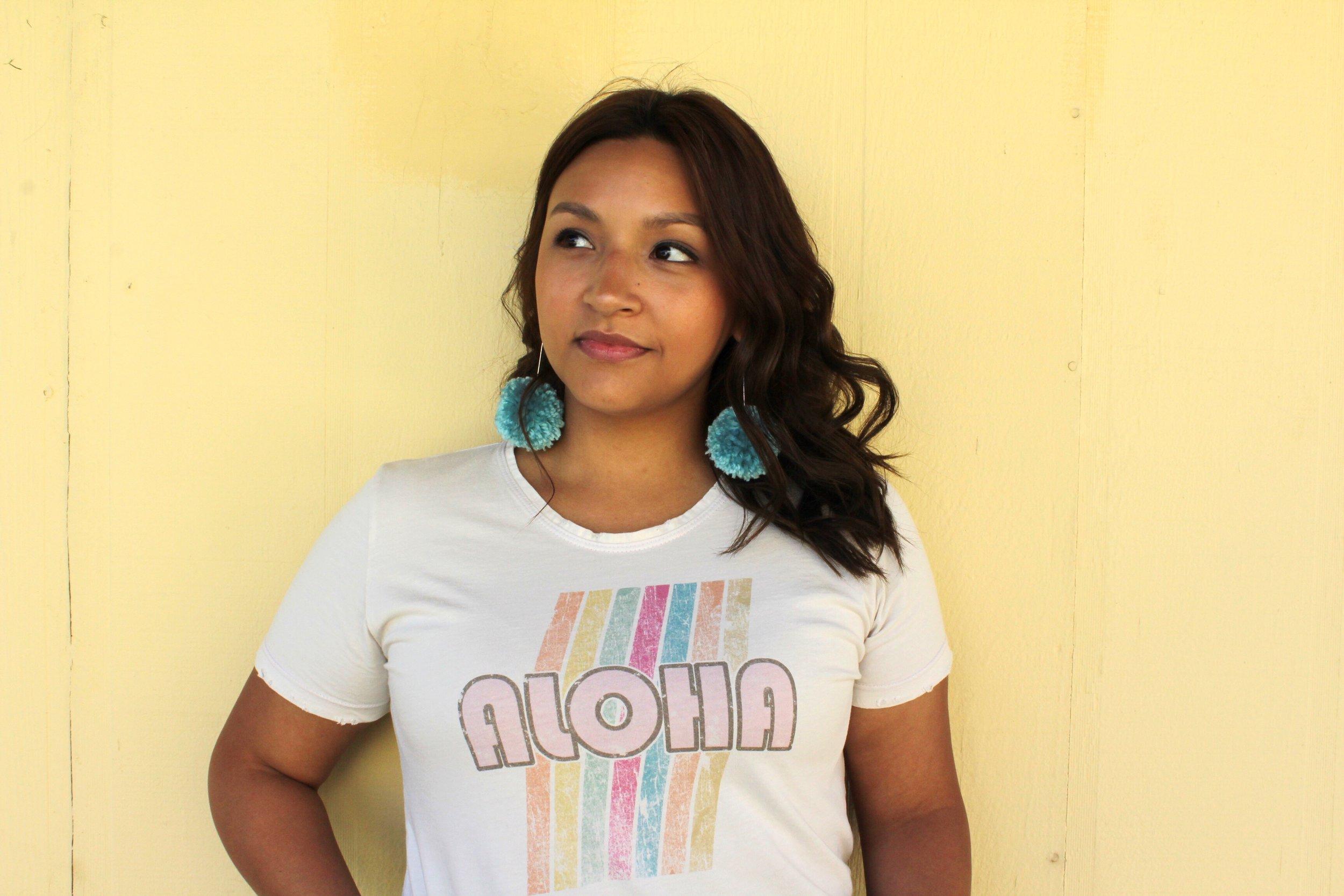 Dolkii Rainbow Aloha Distressed Tee and Wavy Hair