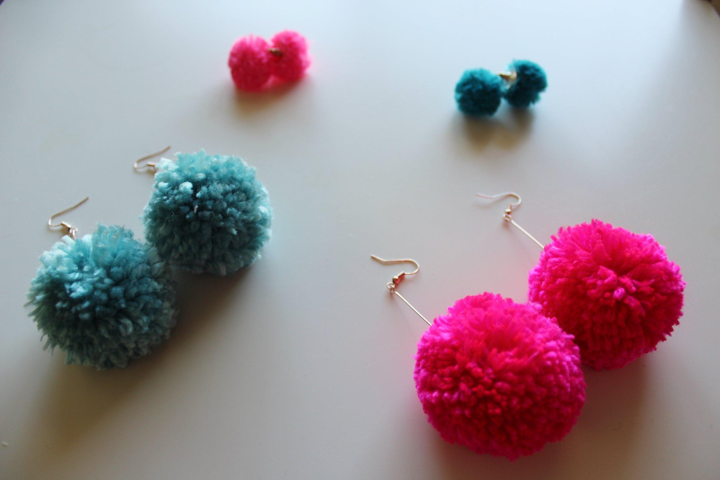 Hot Pink Dangle Pom Pom Earrings