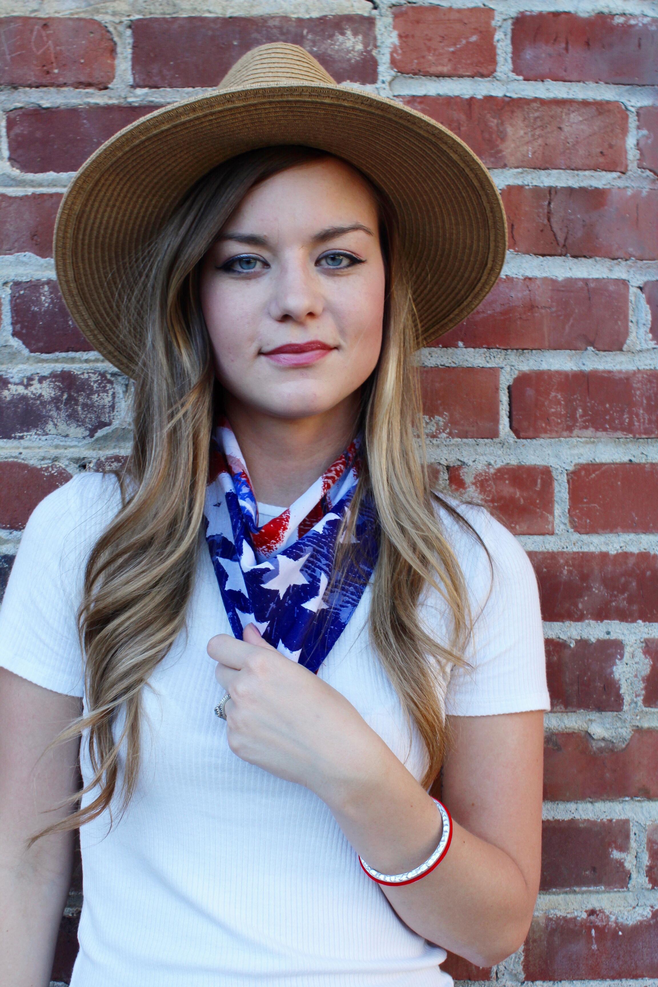 Straw Hat and American Flag Bandana