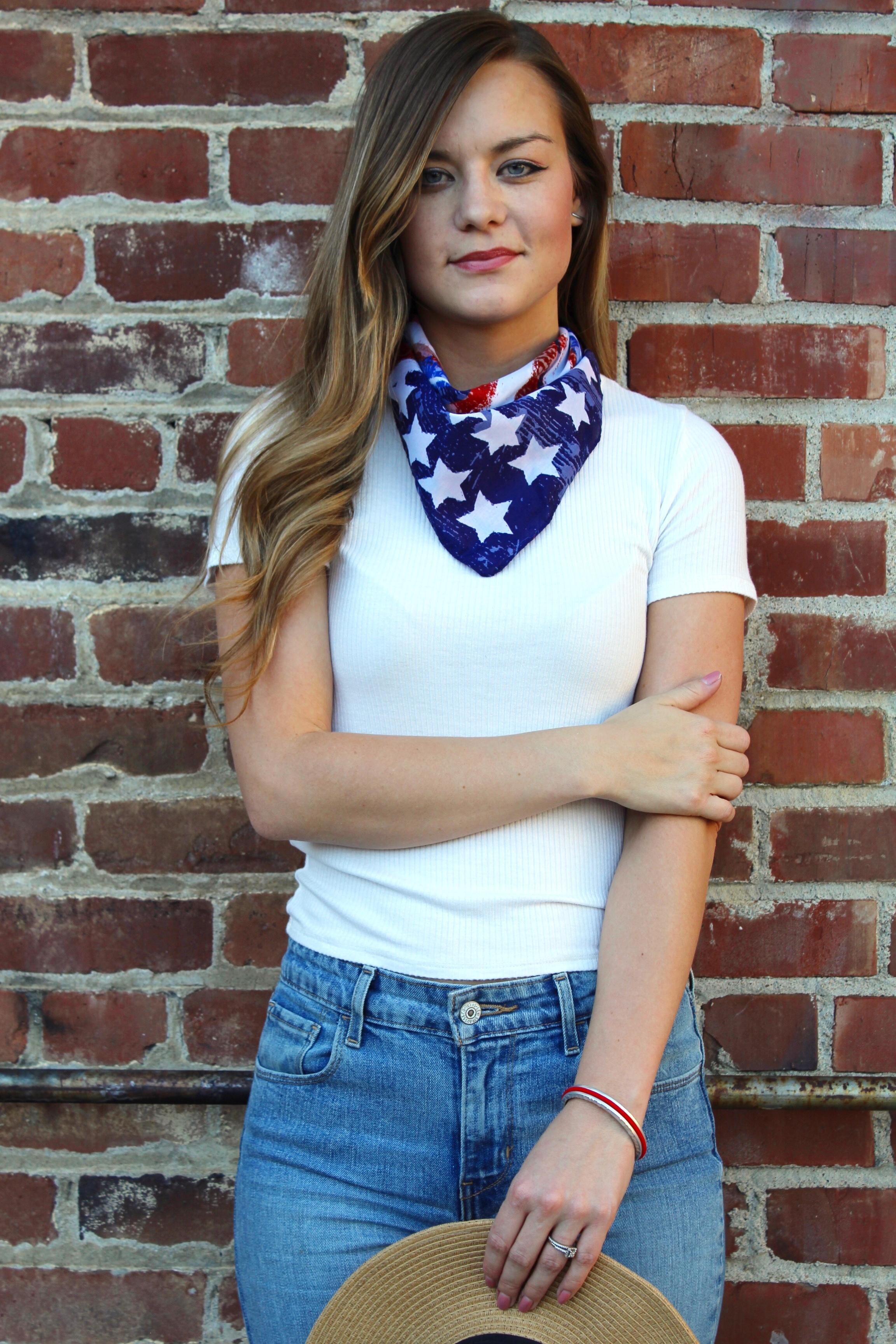 American Flag Bandana and White Basic Tee
