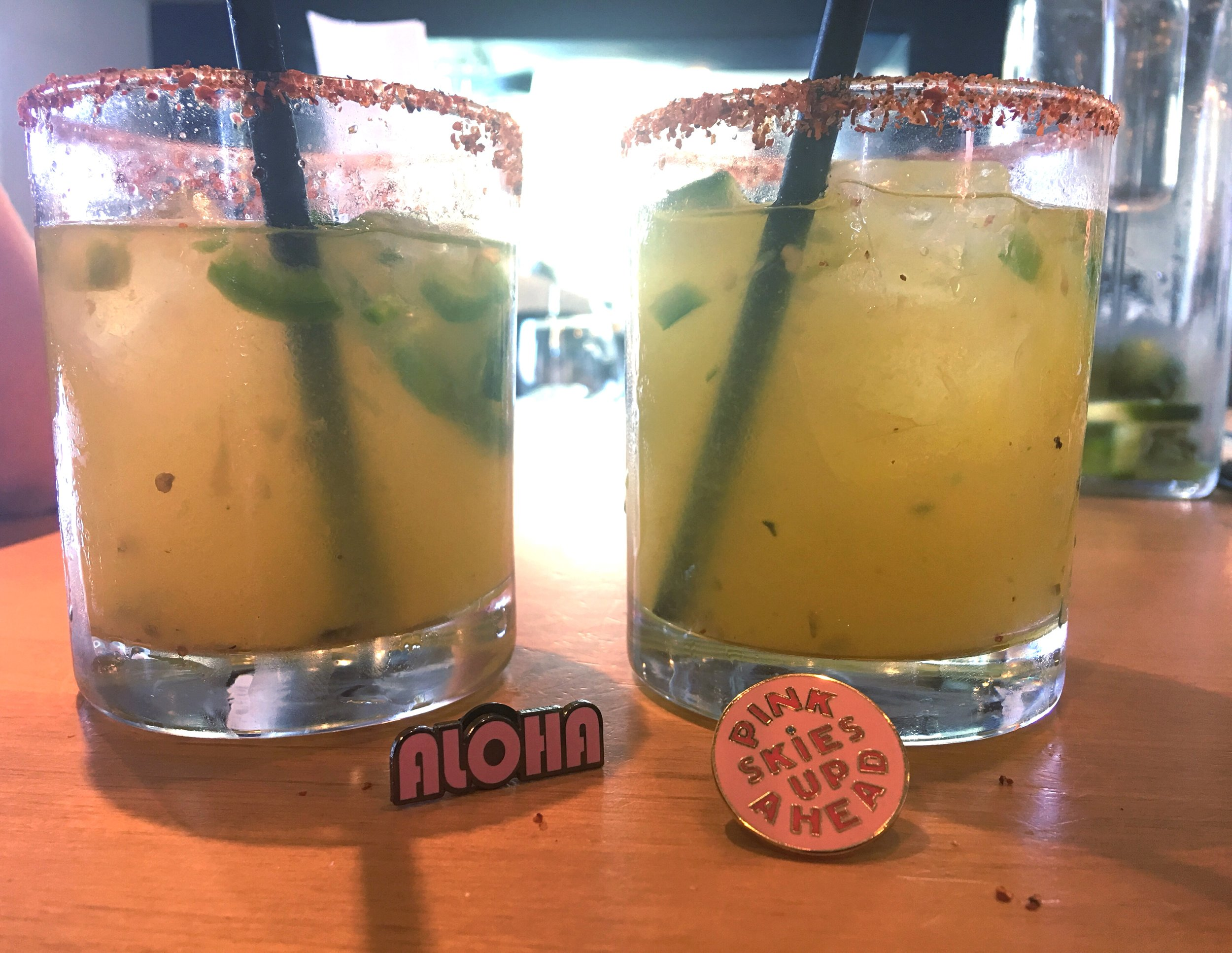 Spicy Jalapeno Margarita from Margaritaville. Aloha Dolkii Pin and Pink Skies Up Ahead Ban.do Pin. M