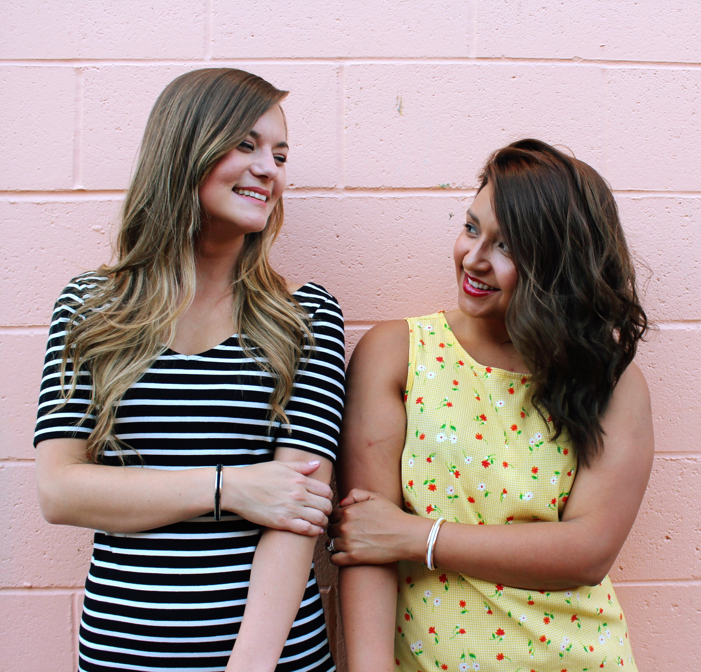 Pink Wall, BFF's Celebrating National Best Friend Day. Second Hand Floral Yellow Dress and Striped H&M BodyCon Dress.