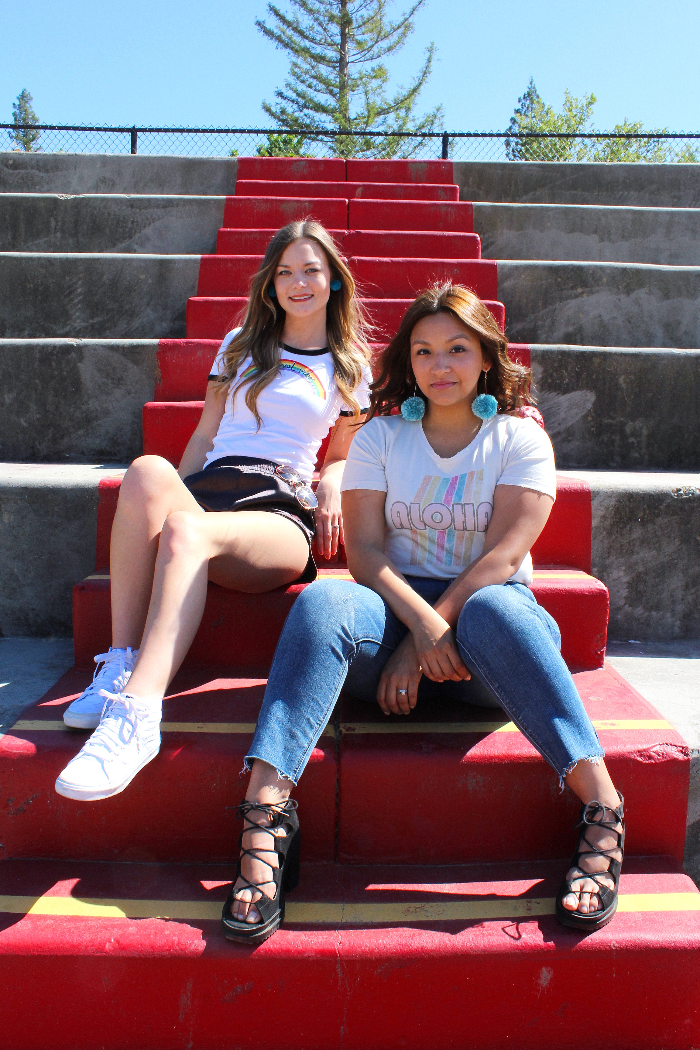 70's Style Women's Fashion. Distressed Tees, Ringer Style Tees and Hot Shorts.