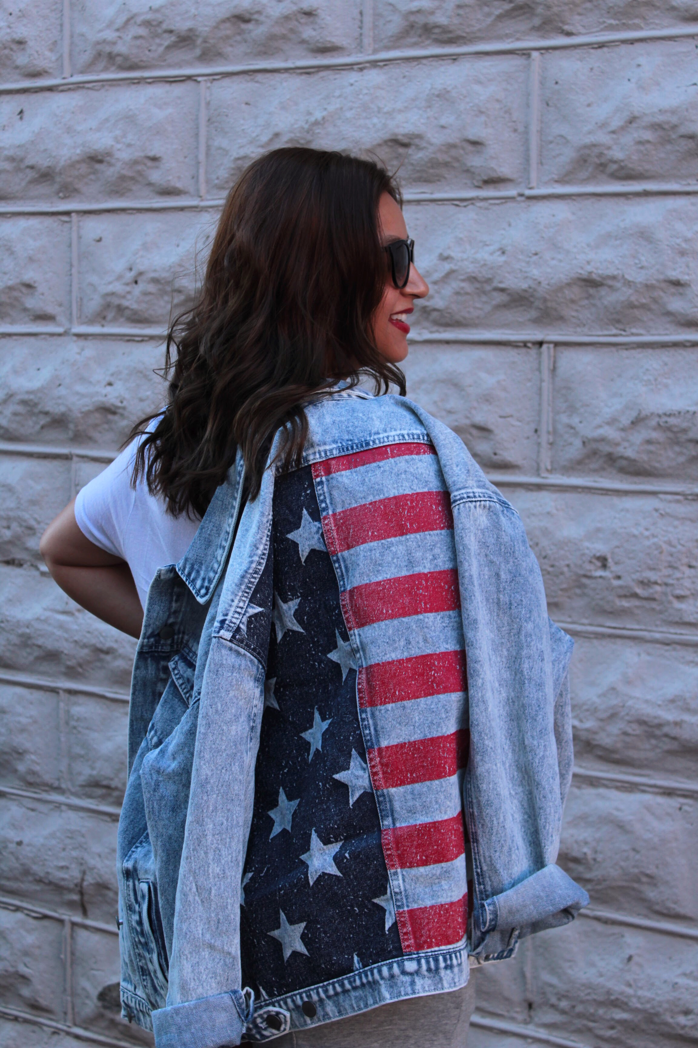 American Flag Acid Washed Denim Jacket