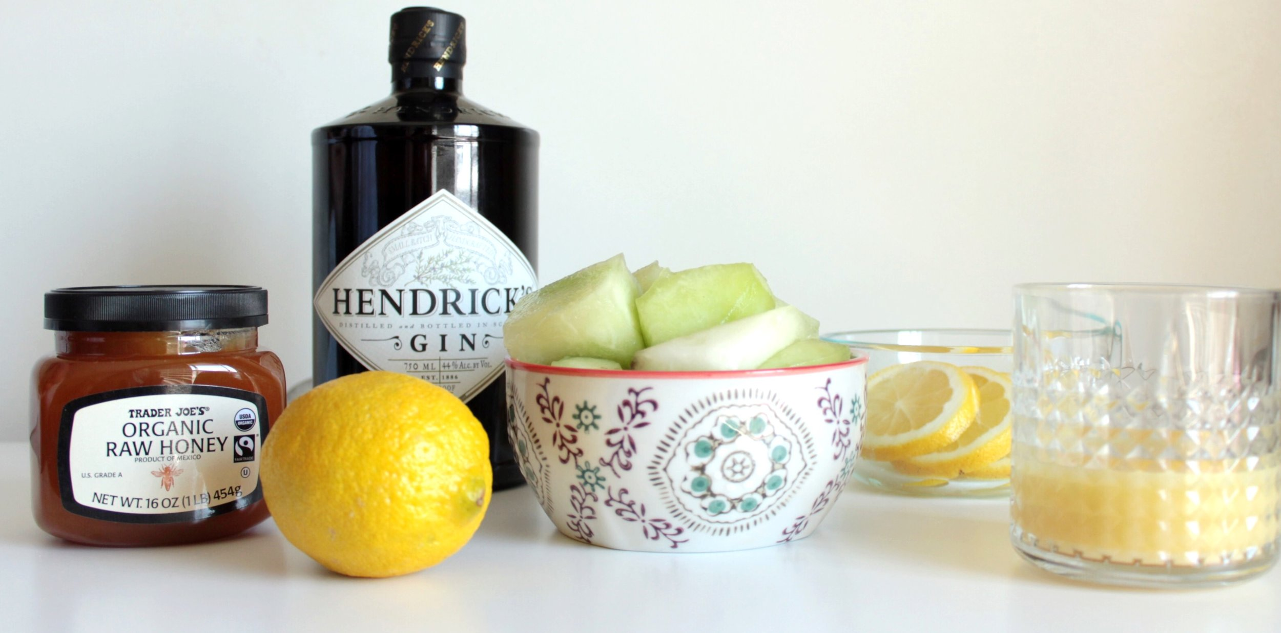 Cocktail Ingredients / Fresh Fruit / Organic Trader Joe's Honey / Hendricks Gin