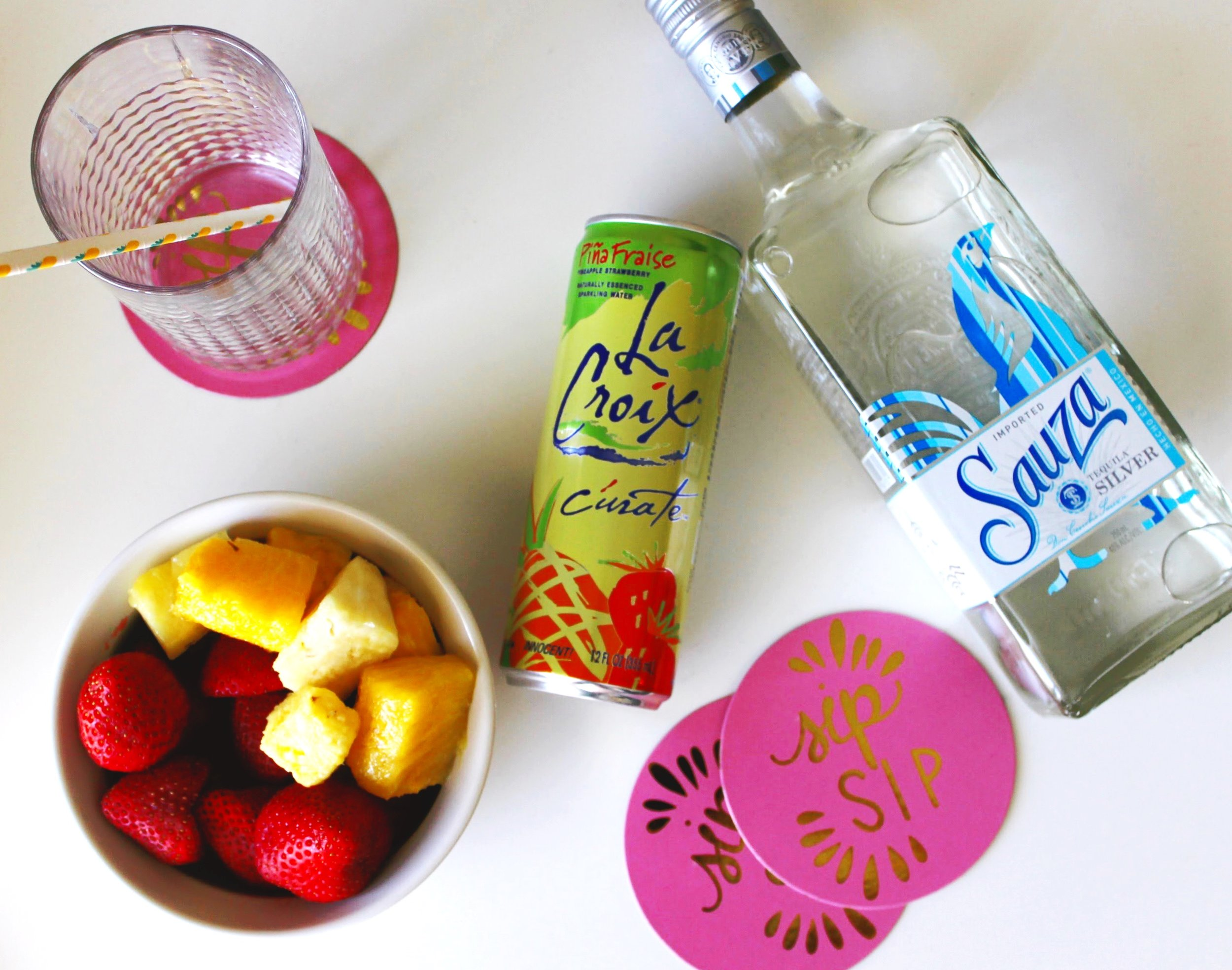 LaCroix Sparkling Water Cocktail Garnished with Fresh Fruit