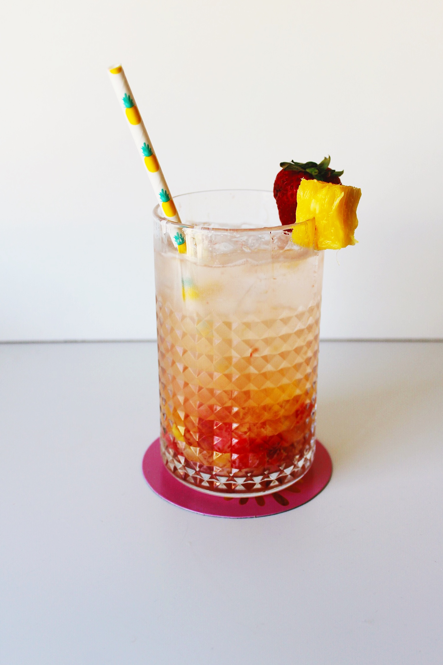 Muddled Fruit and Sparkling water cocktail with Sauza Tequila.