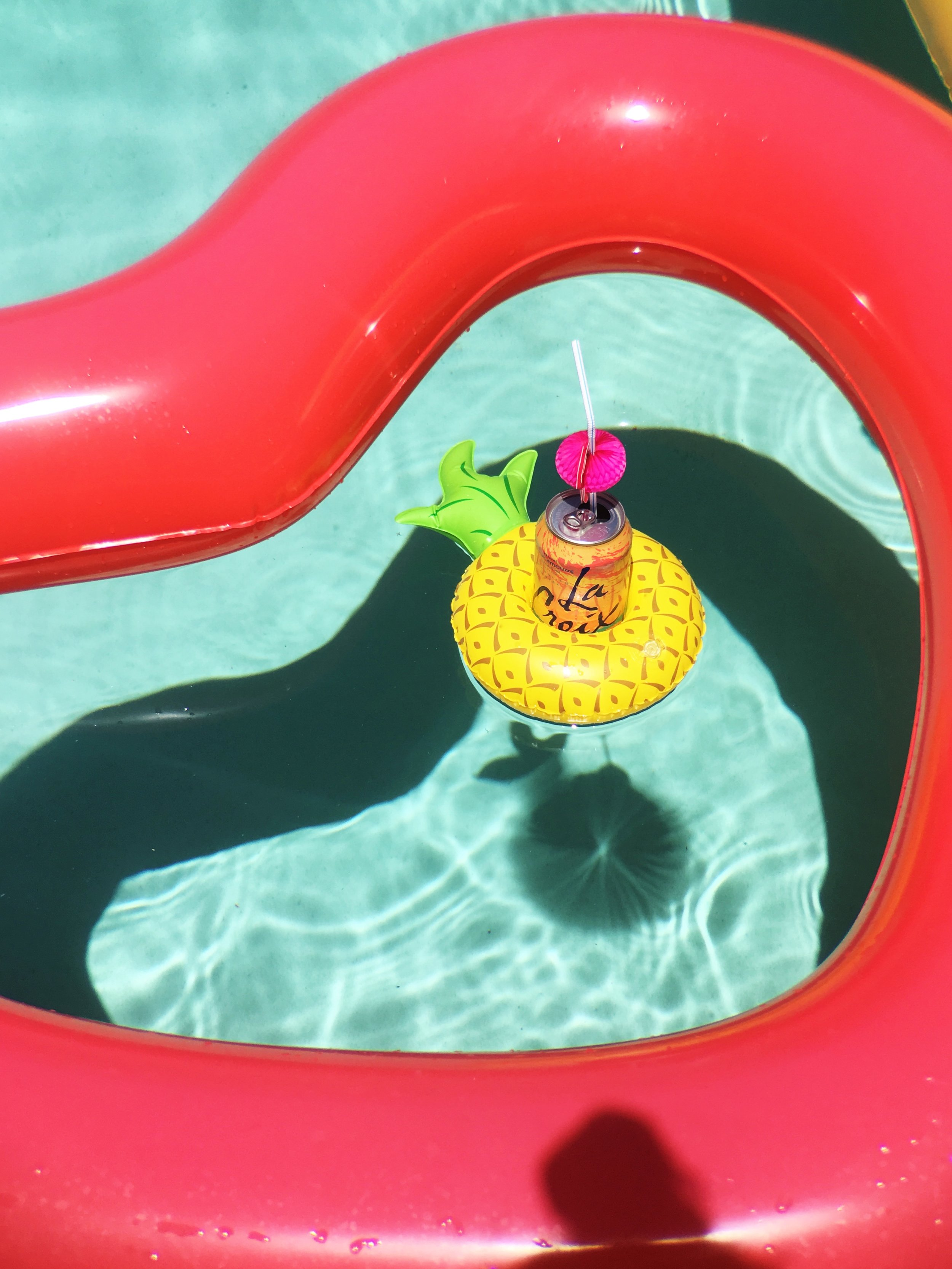 Ban.do Heart Shaped BFF Pool Float. Pineapple Drink Float with a grapefruit LaCroix.