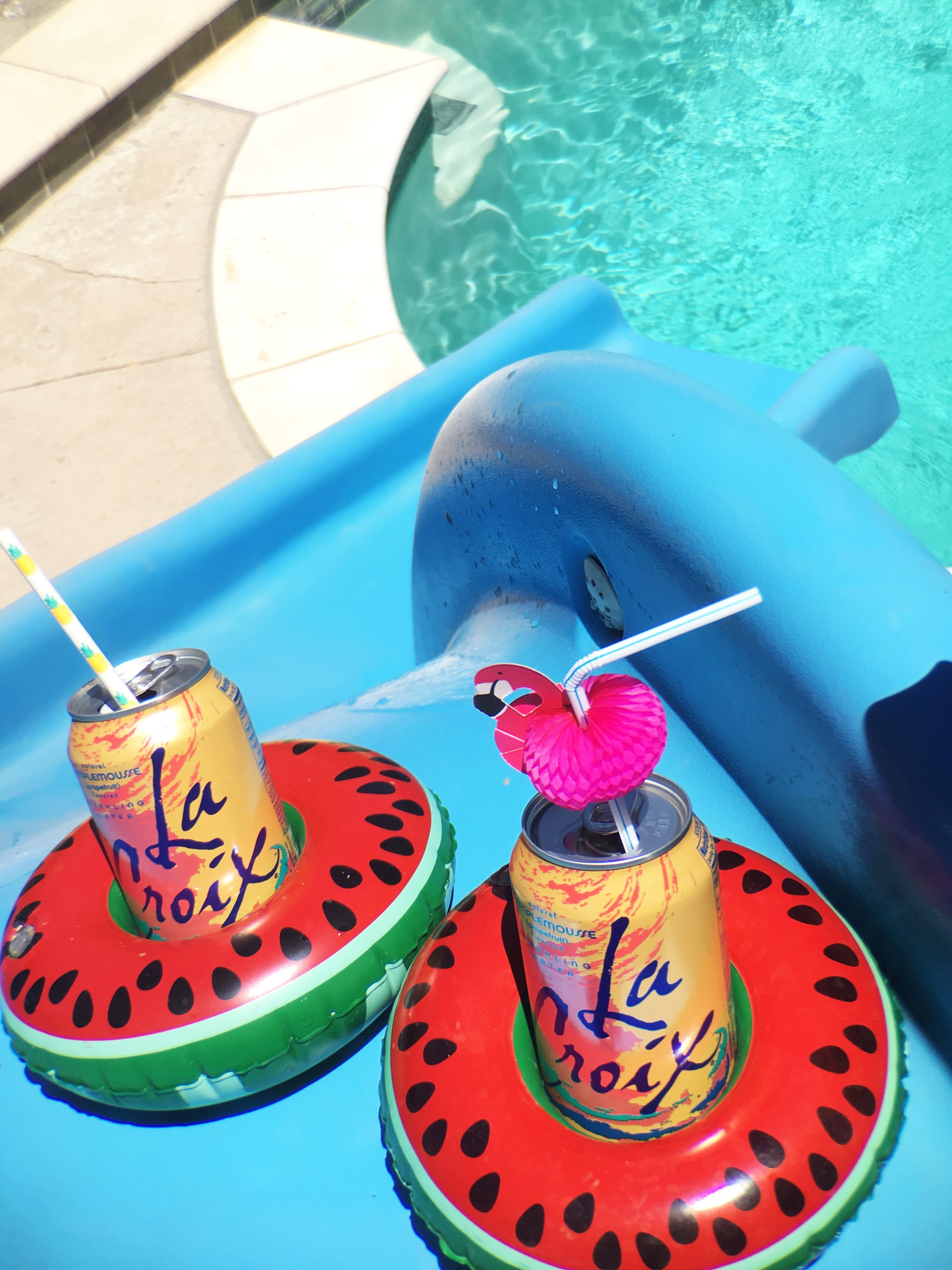 Pool Waterslide and Big Mouth Drink Floats