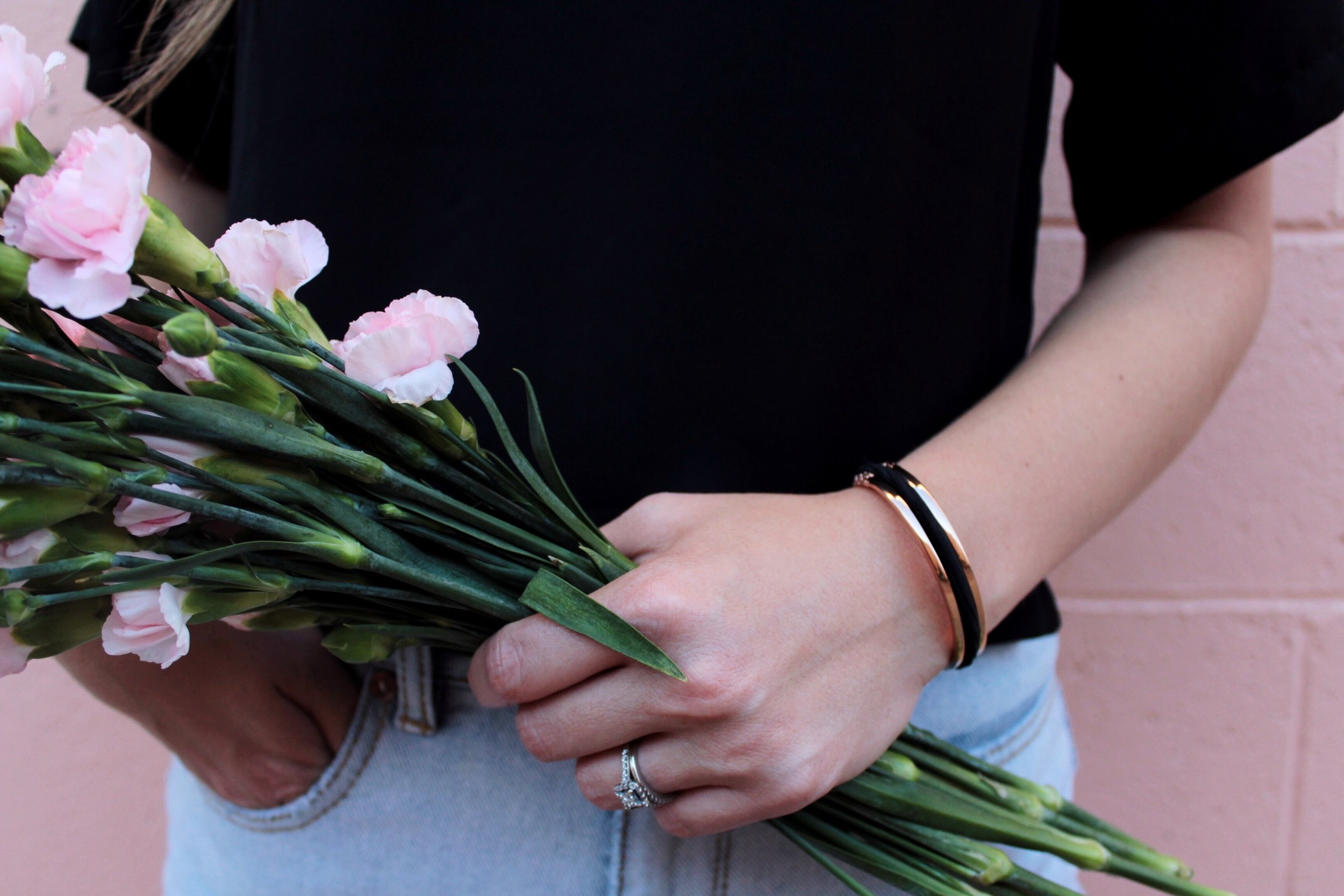 Rose Gold Floral Design Maria Shireen HairTie Bracelet.