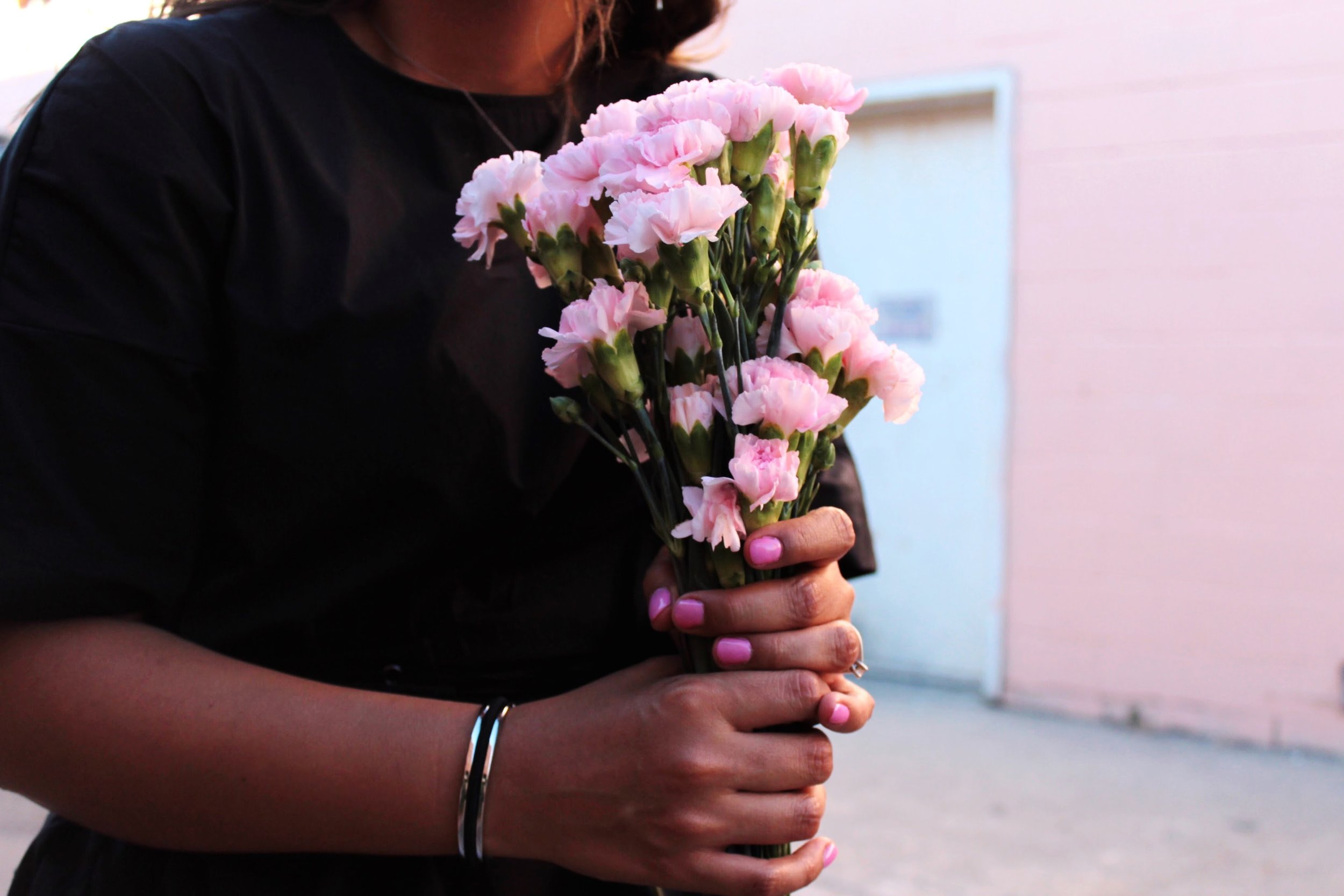 Pink Carnations and a Maria Shireen HairTie Bracelet.