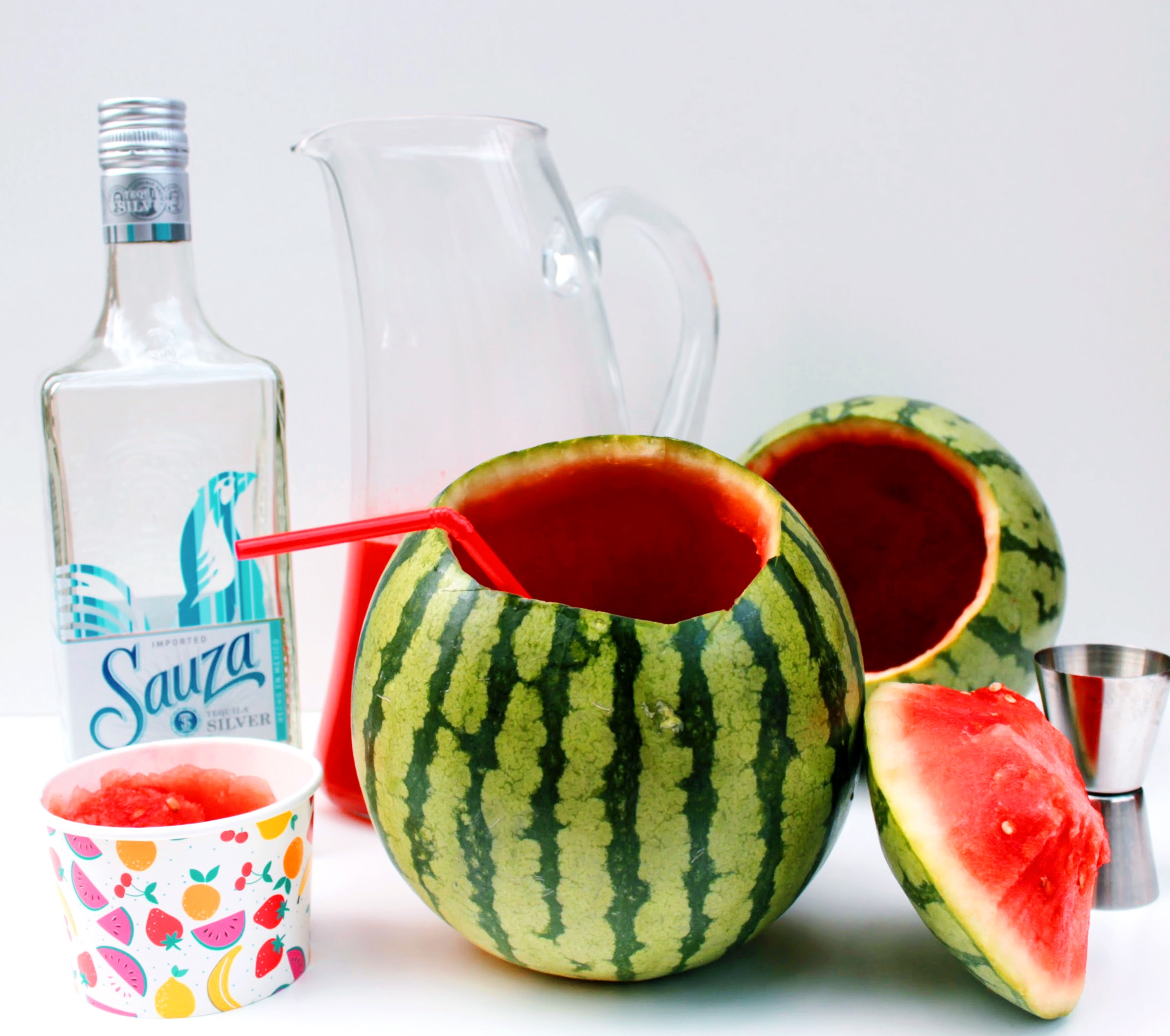 Mini Watermelon Cocktail with Sauza Silver Tequila.