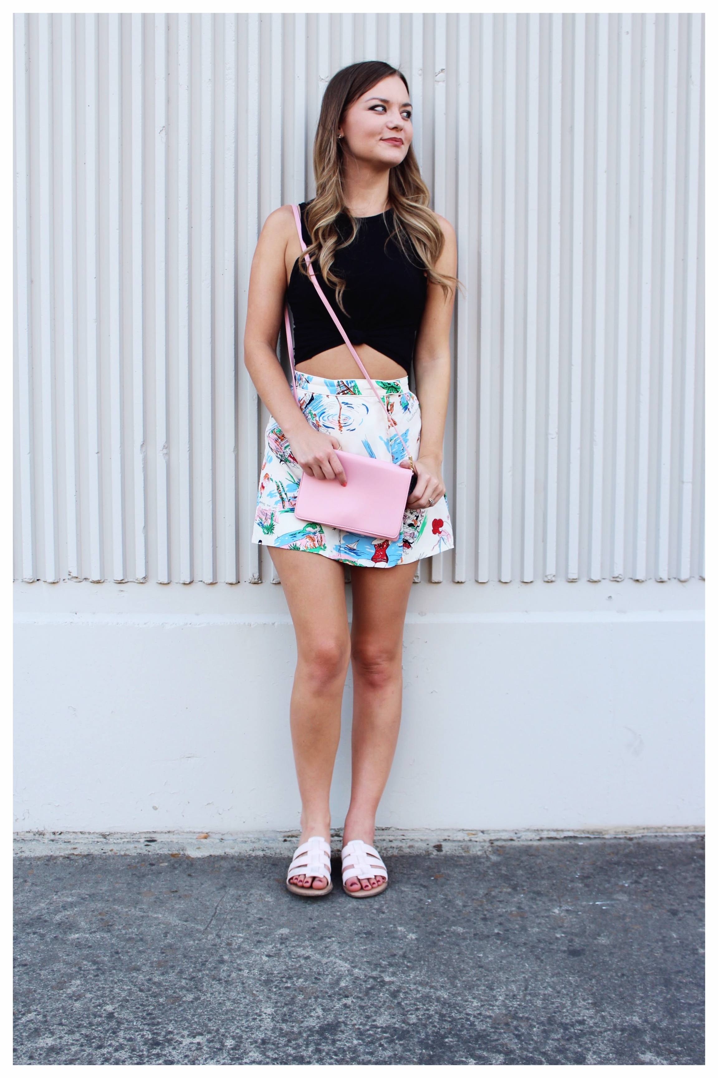 Pink Cross Body Bag and Blush Pink Sandals