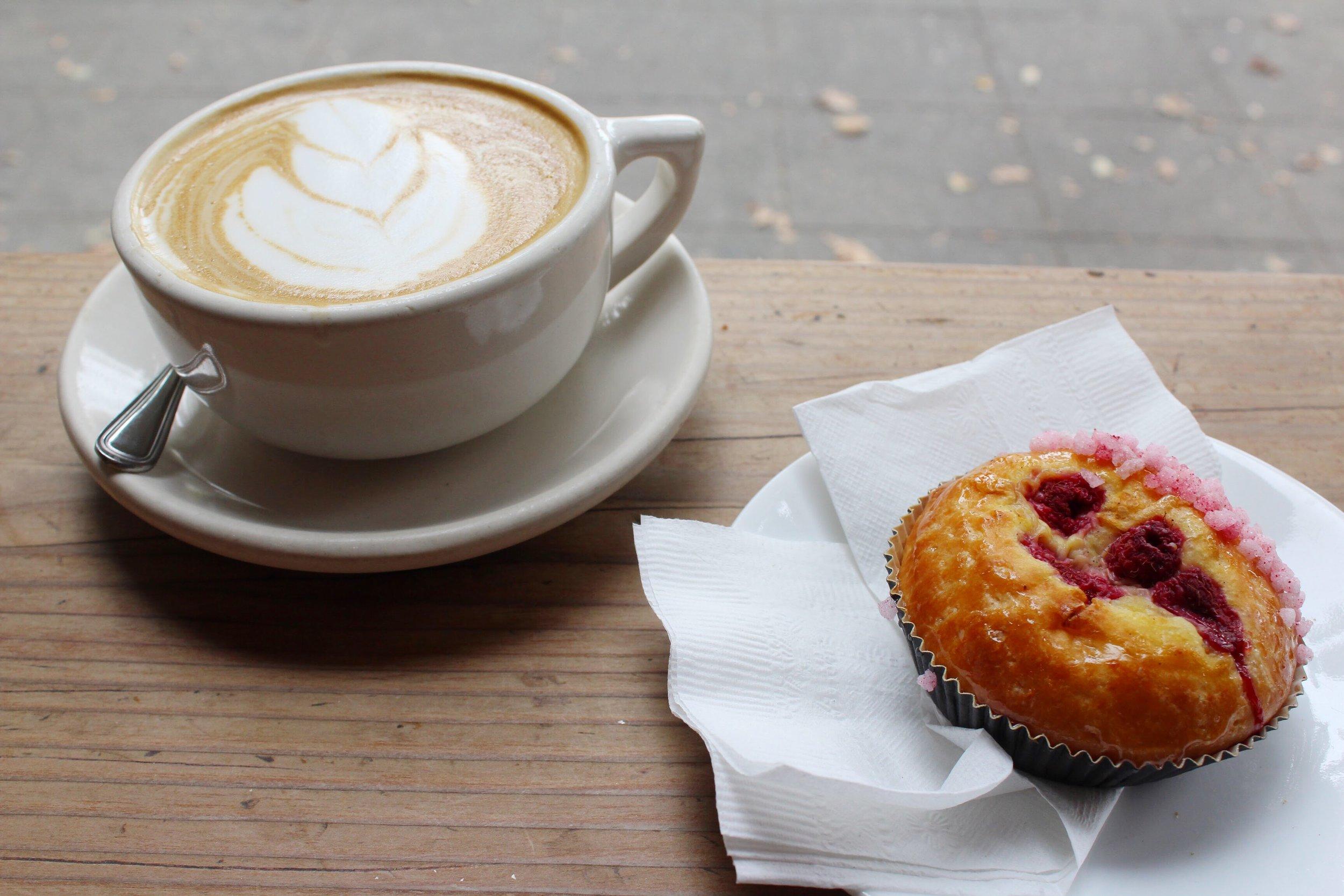 Raspberry Brioche and Latte from Verve Coffee Roasters in Santa Cruz