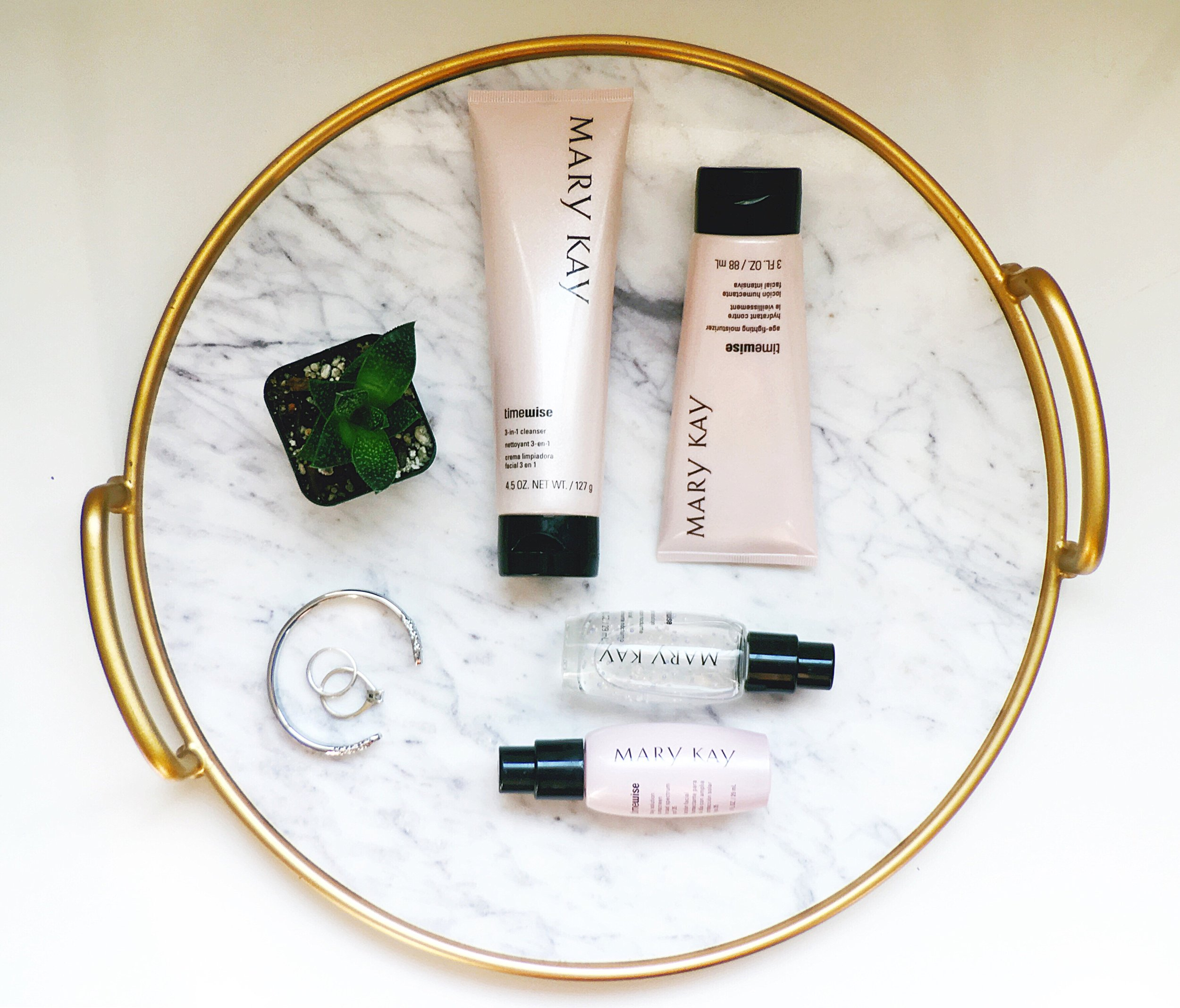 Mary Kay Timewise Miracle Set, Mary Kay Face lotion, cleanser, Maria Shireen Silver floral HairTie Bracelet/