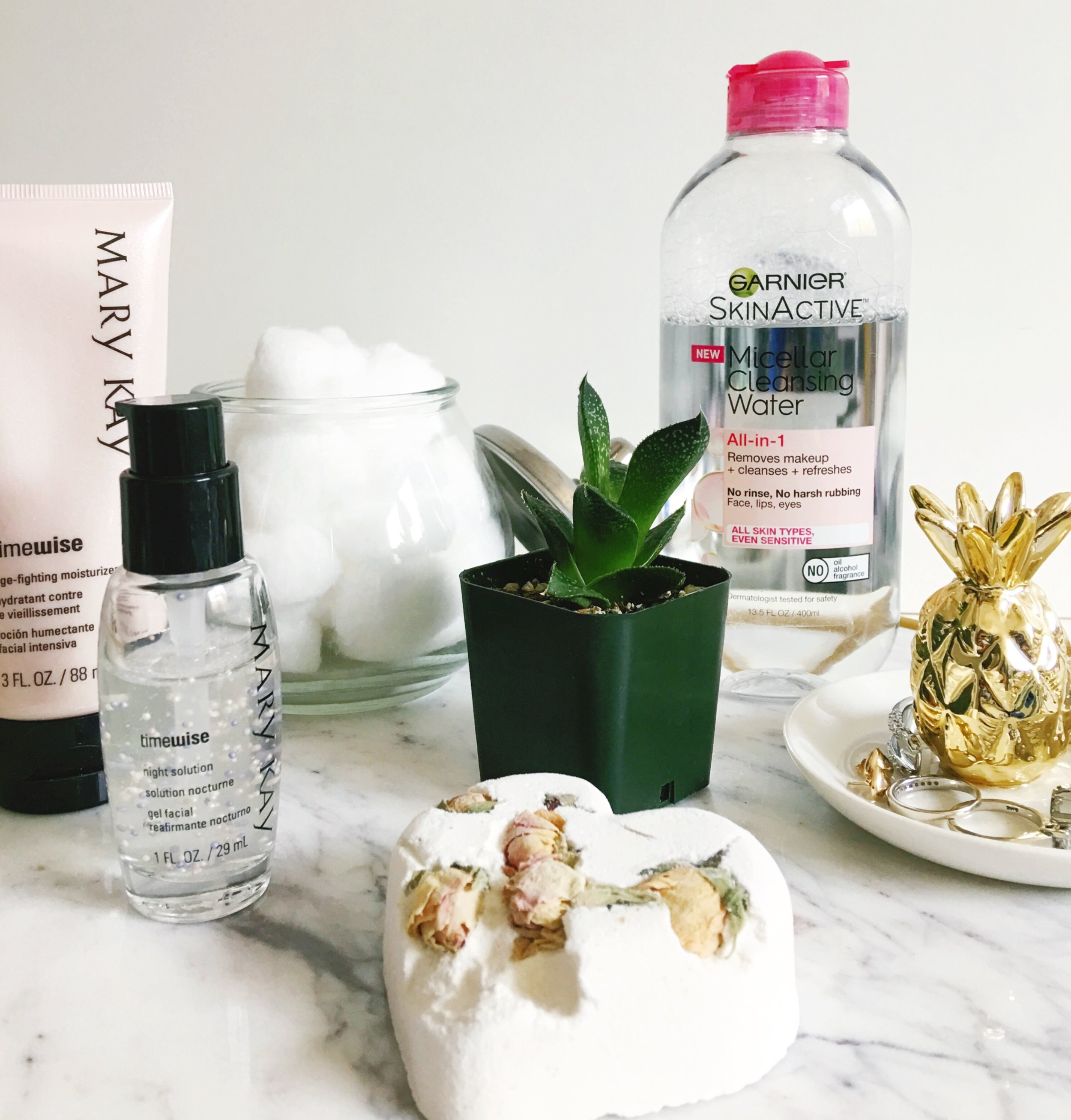 Garnier SkinActive Micellar Cleansing Water for All Skin Types/ Cotton Balls/ Mary Kay Timewise Miracle set Age- Fighting Moisturizer/ Succulent/ Pineapple Jewelry holder/ Lush Cosmetics Tisty Totsy Bath Bomb