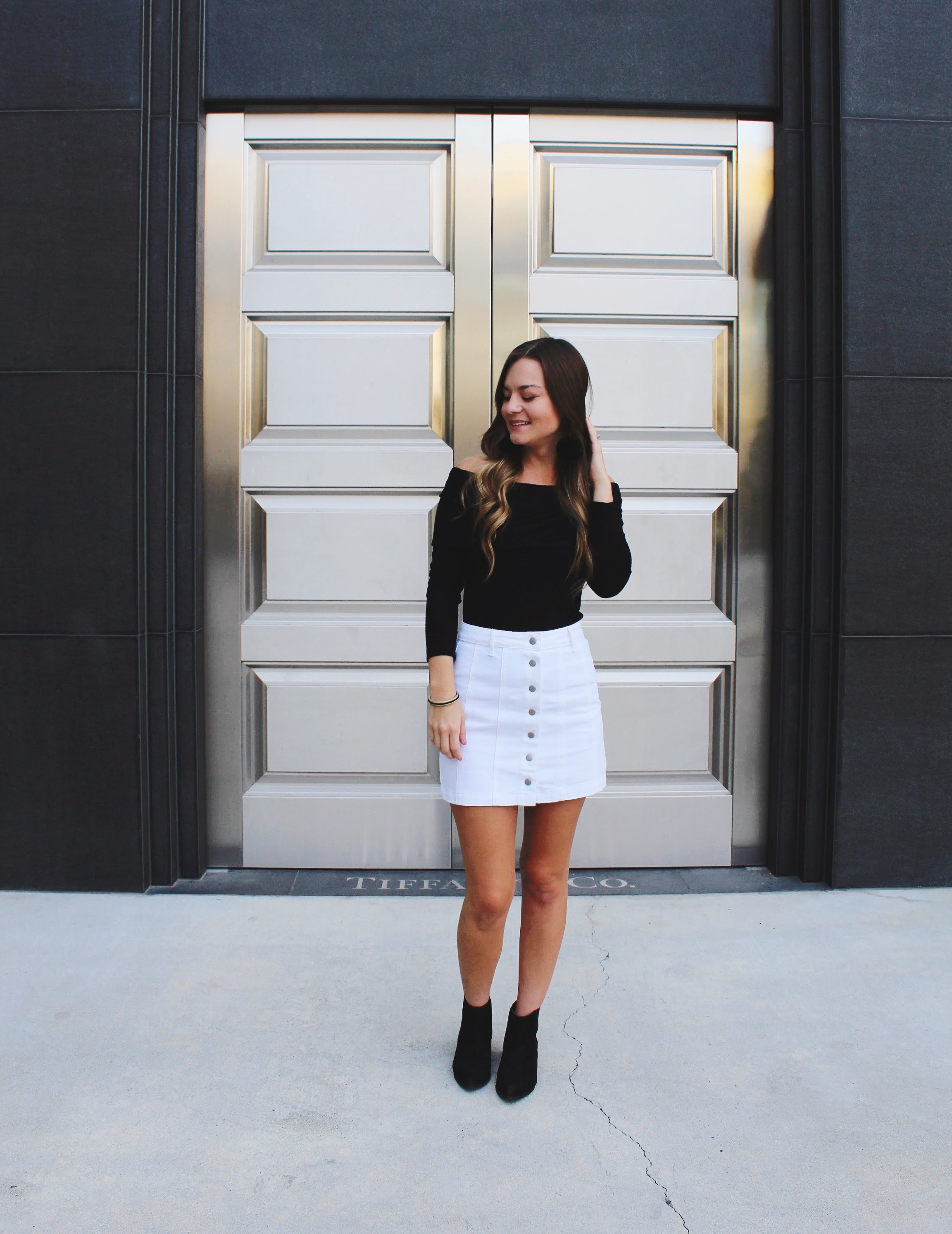Fall Fashion/ transitional weather outfits/ black off the shoulder top / white button down skirt/ black ankle boots