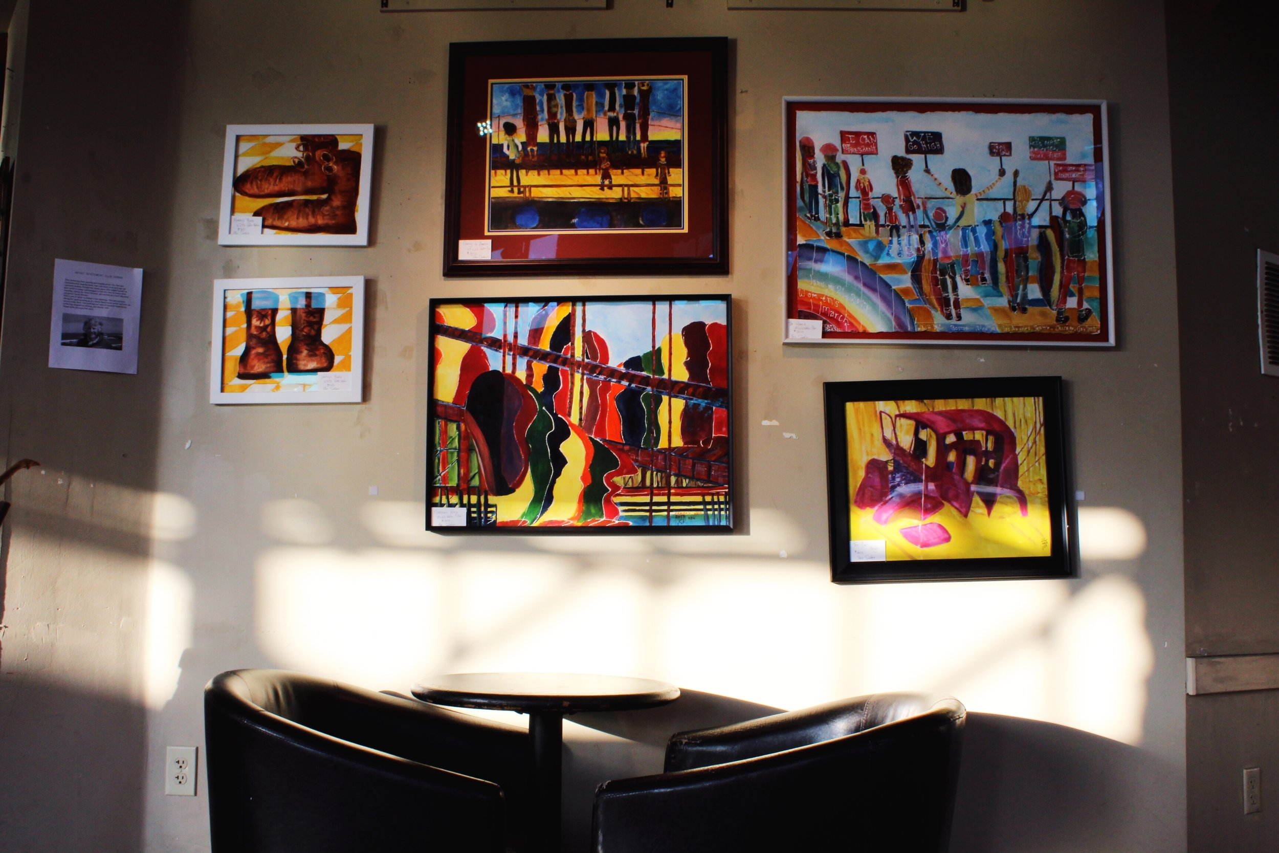 Art Gallery wall at Old Soul Coffee in Oak Park Sacramento/ Vibrant colors