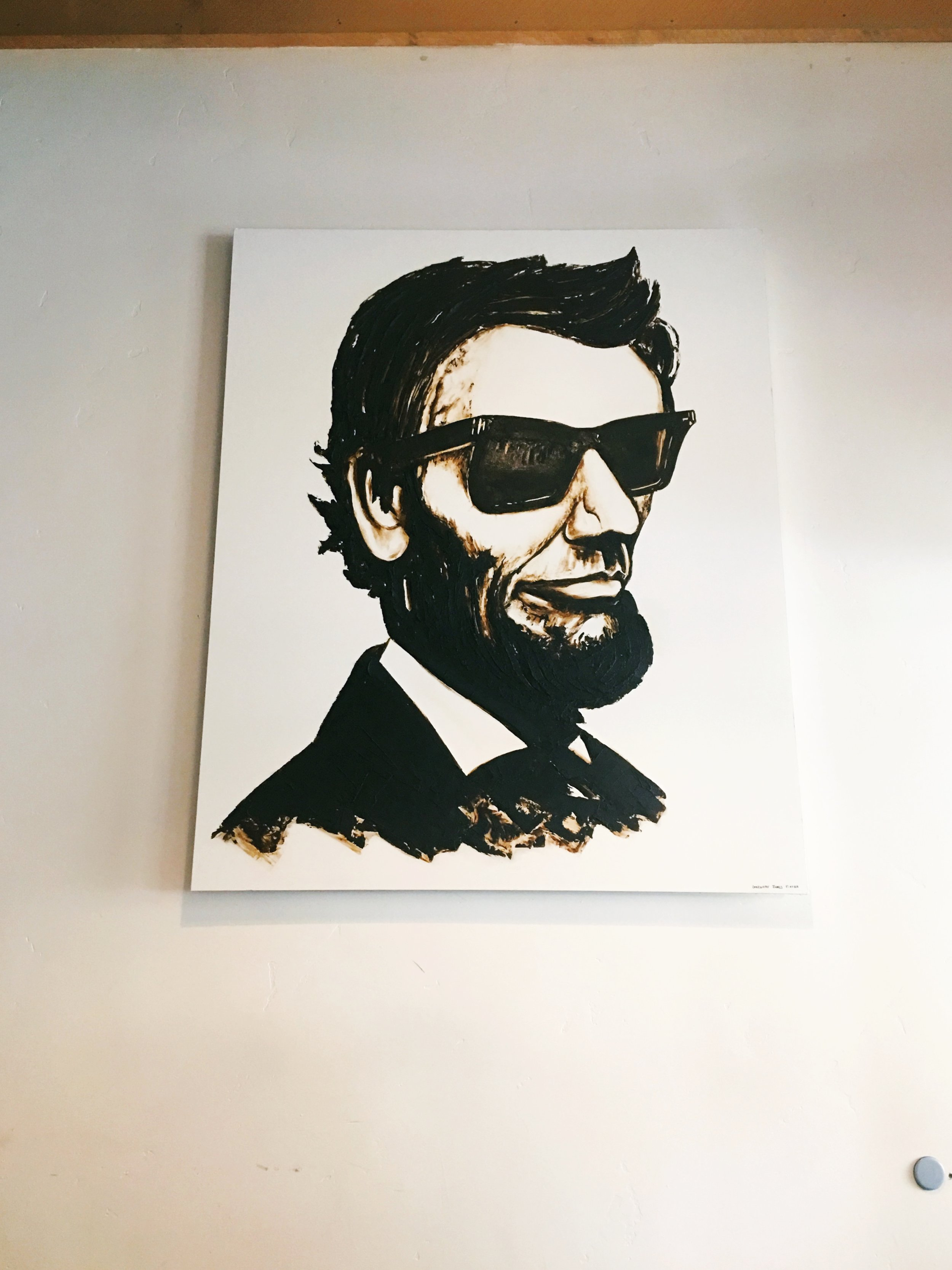 Four Score and seven years/ President Abraham Lincoln drawing wearing sunglasses